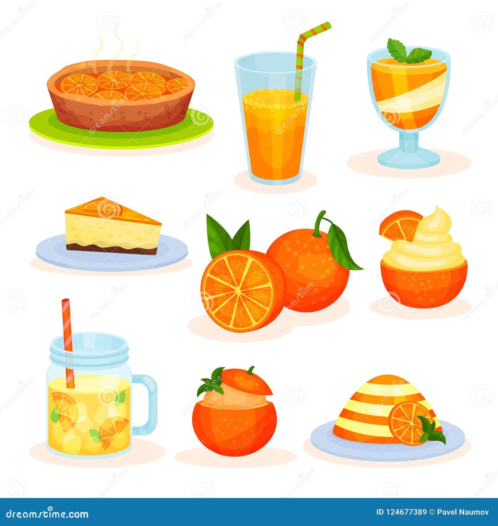Świeżej owoc pomarańczowi desery, świeżo piec kulebiak, sok, mousse, tort, pudding wektorowe ilustracje na białym tle