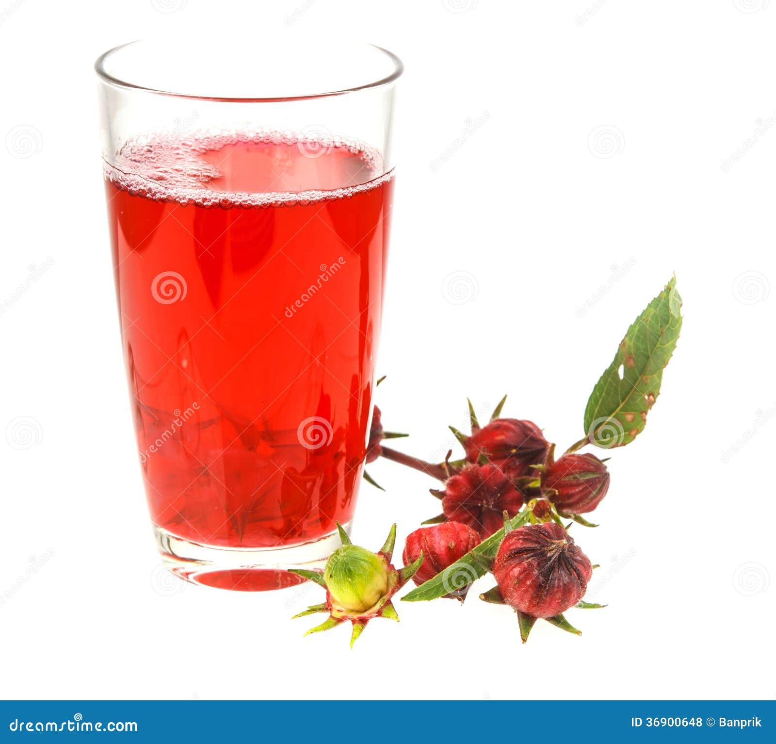 Świeży czerwony roselle i sok odizolowywający na bielu