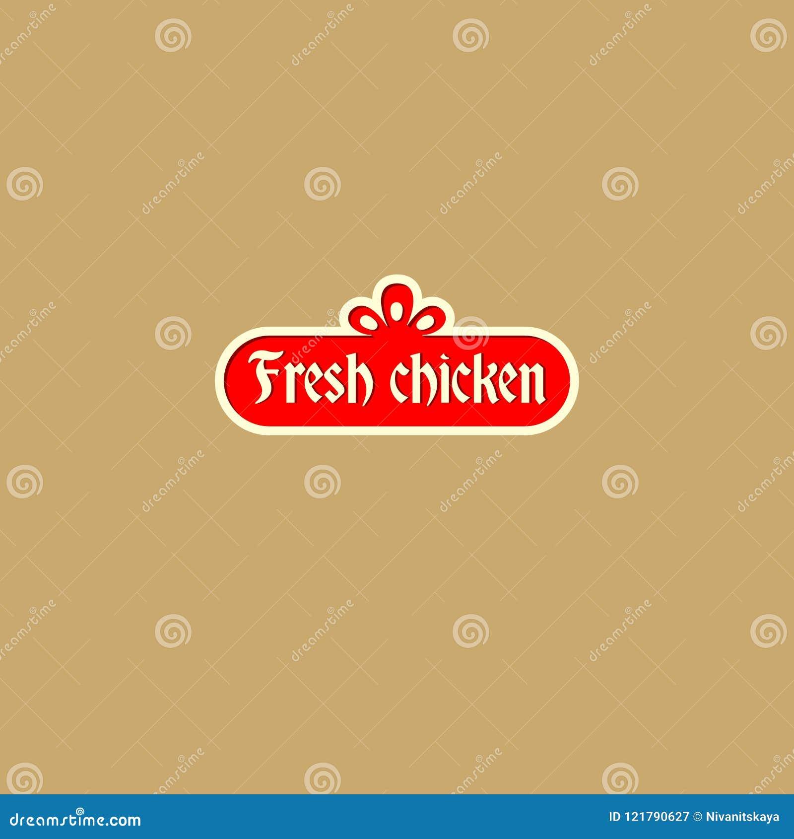 Świeży kurczaka logo Wieśniaka stylu znak Logo jako czerwona rocznik postać
