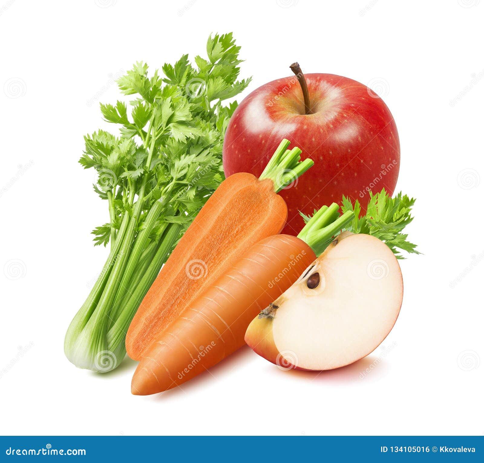 Świeży seler, marchewka i czerwieni jabłko odizolowywający na białym tle,