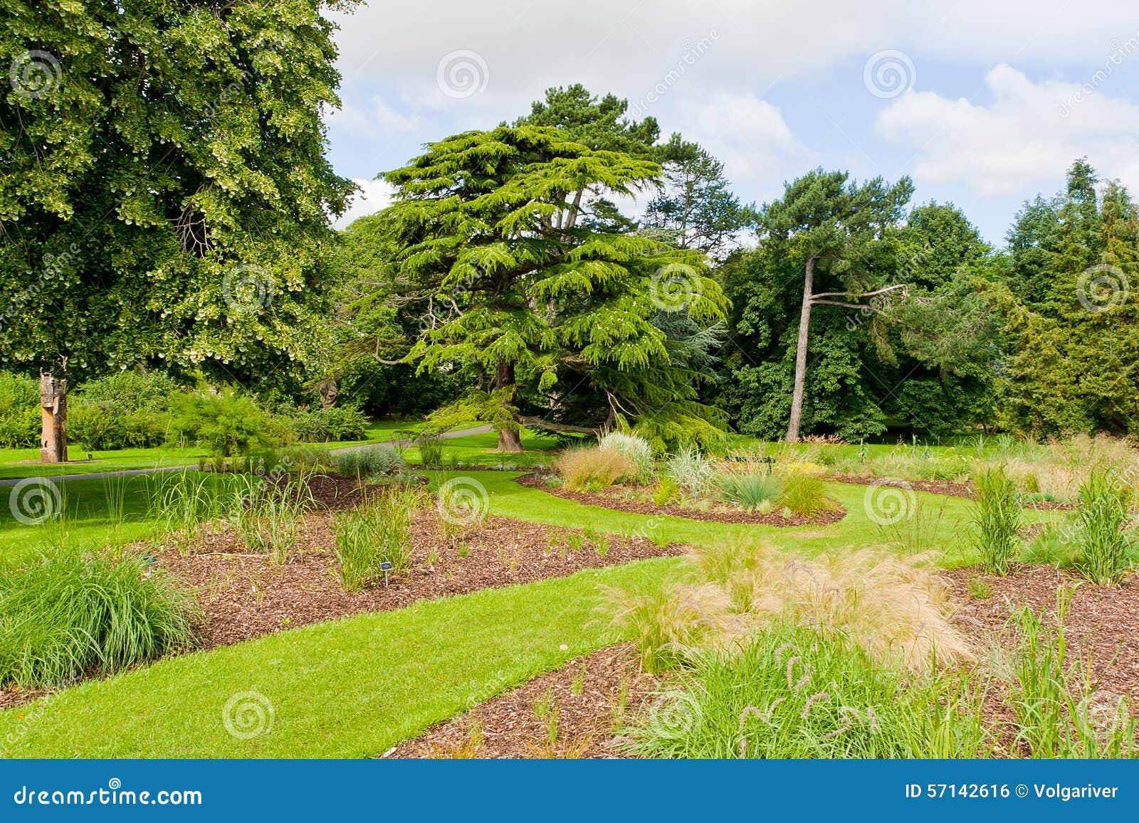 Świeży zieleń krajobraz formalny ogród przy latem