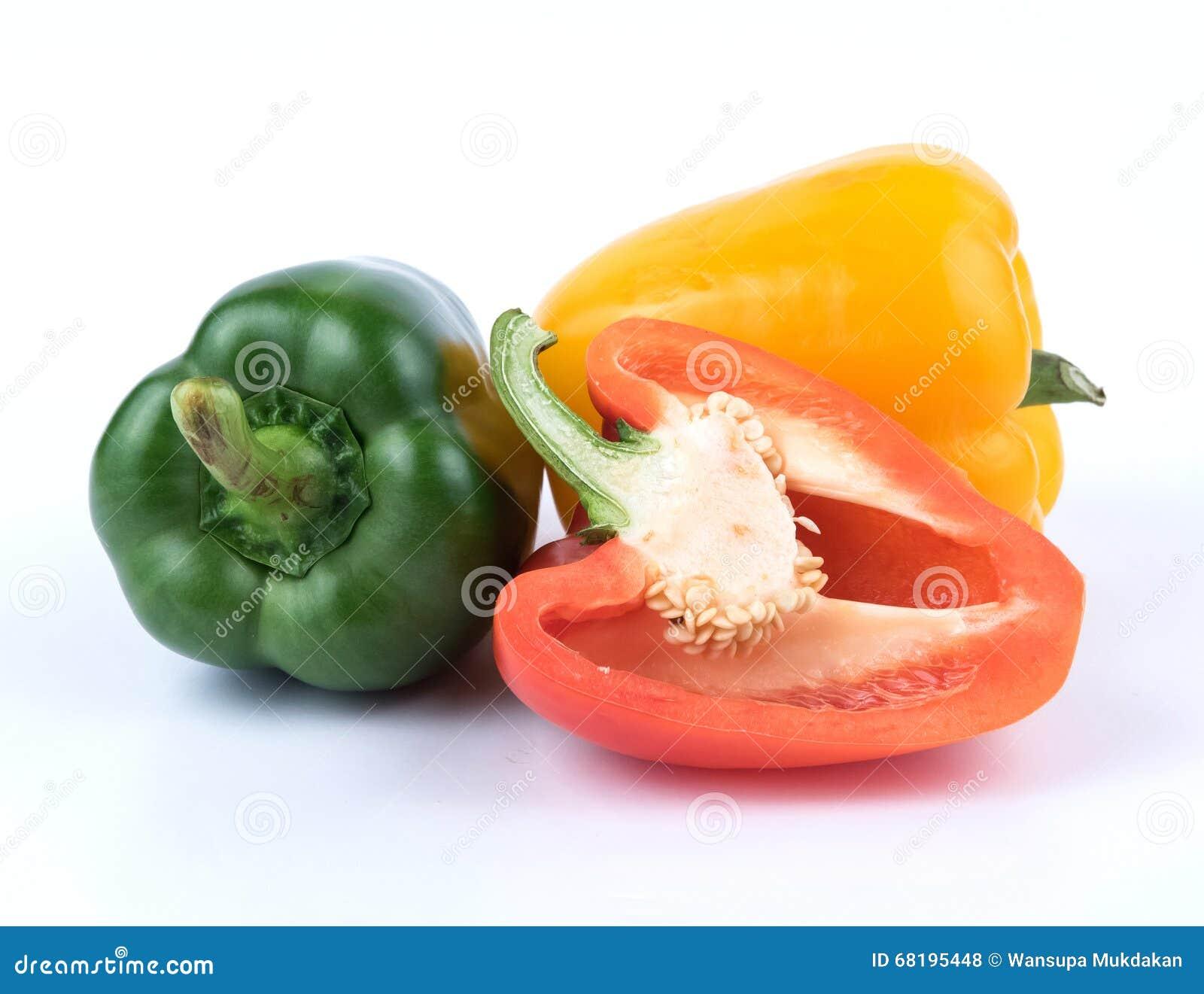 Świeży Zielony kolor żółty i czerwony pieprz
