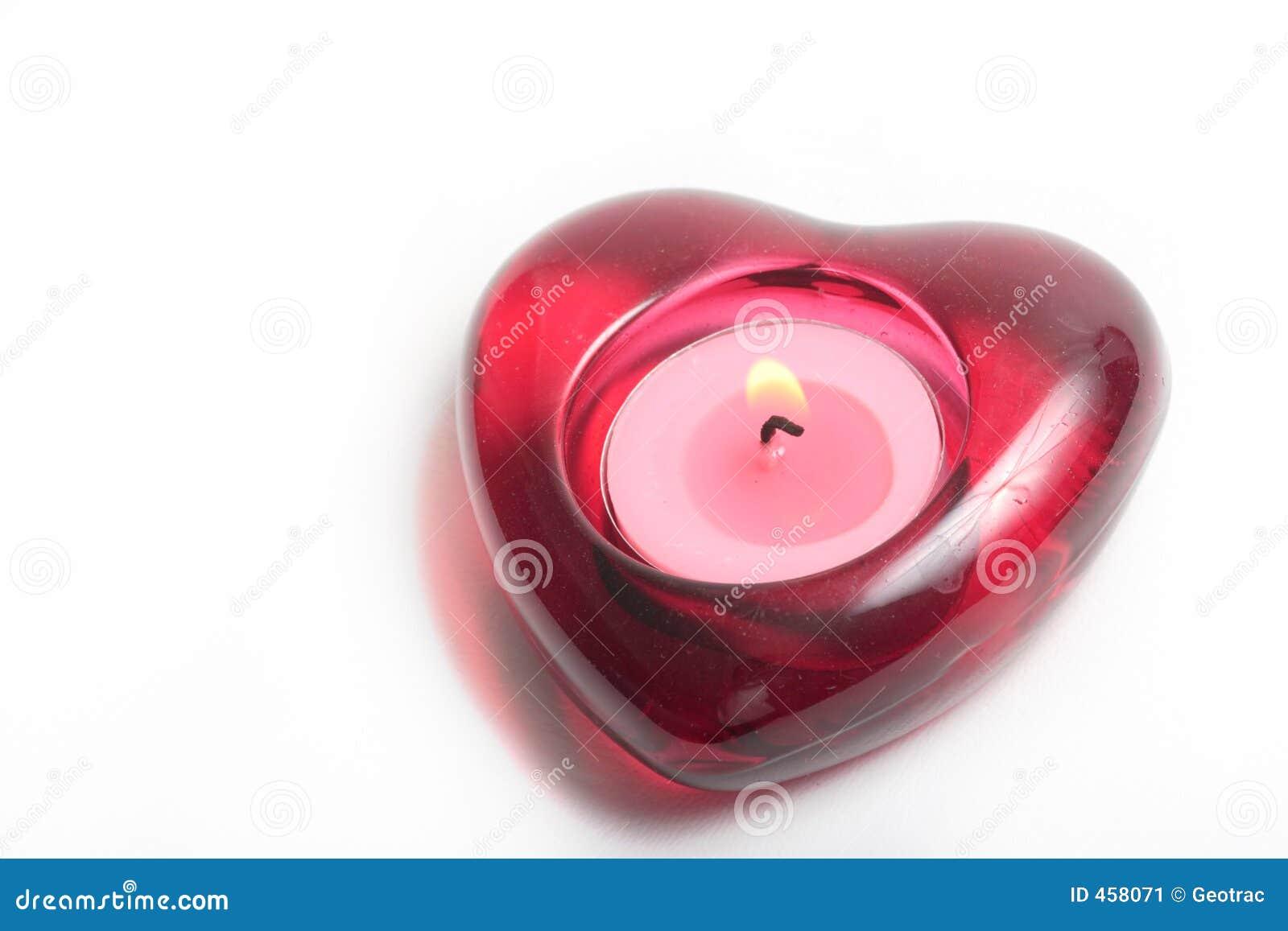 świeca płomienia czerwone serce
