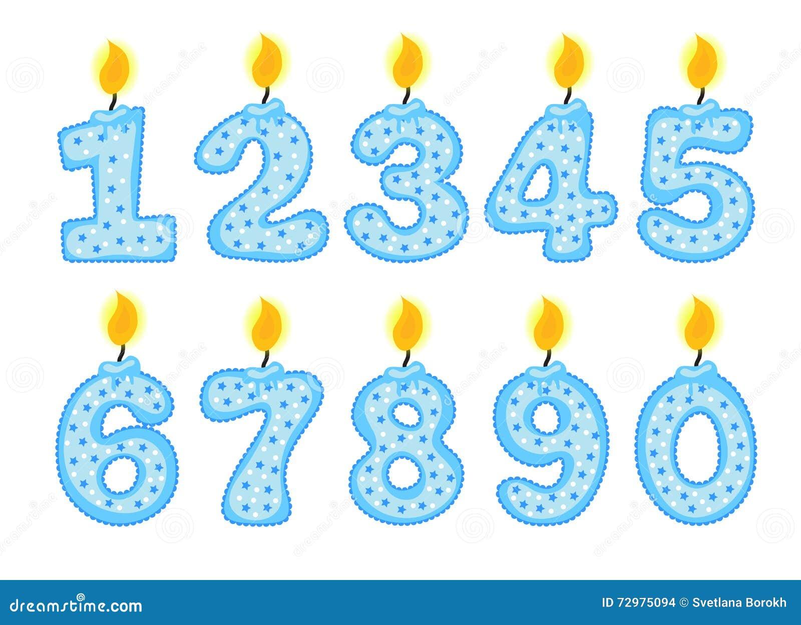 Świeczki liczby set, ilustracja urodzinowe świeczki na białym tle,