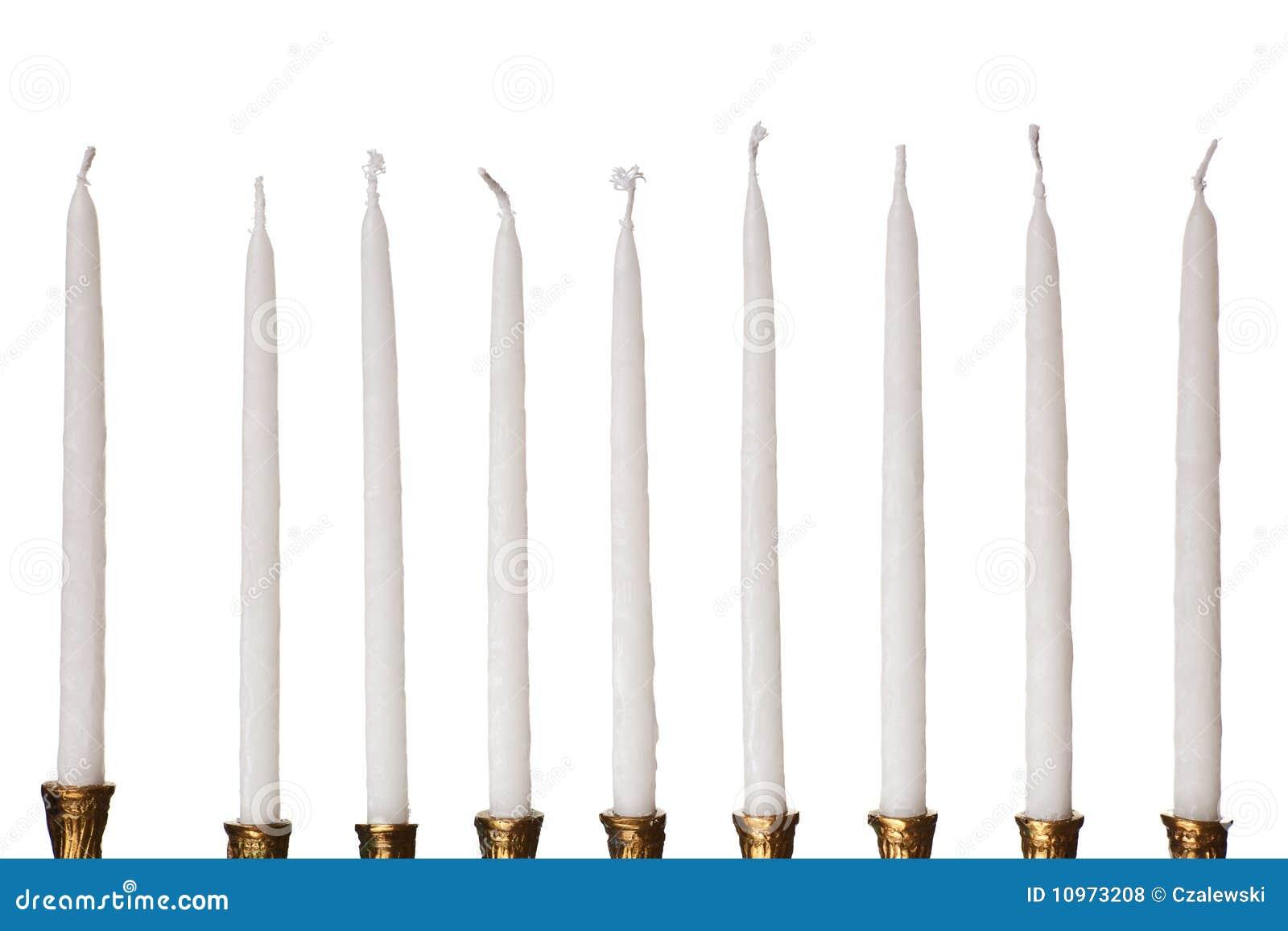 świeczki odosobnionych Hanukkah menorah