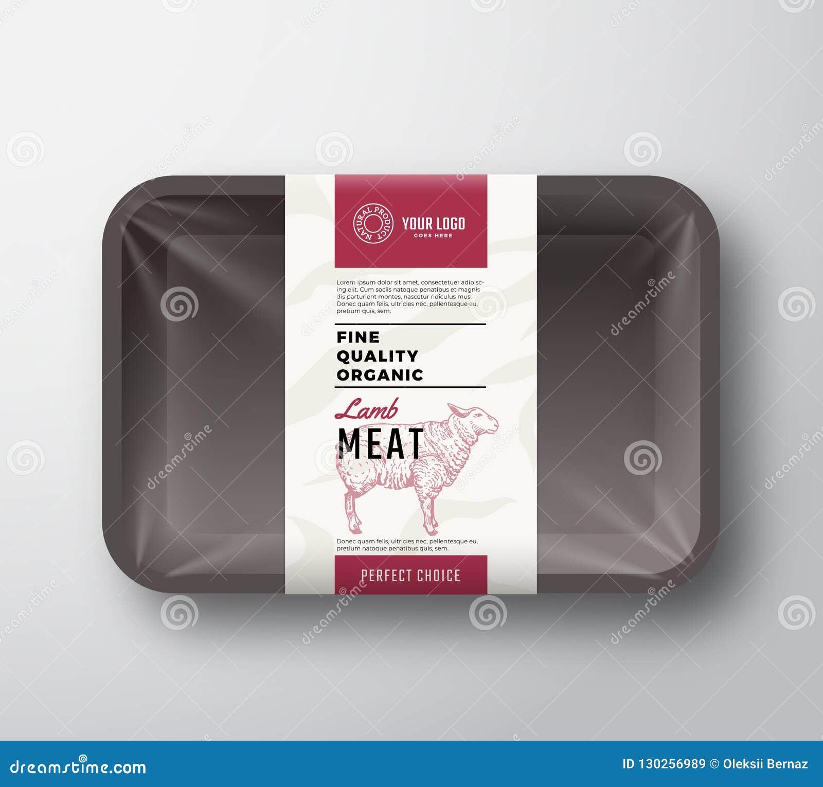 Świetny ilość baranka mięso Abstrakcjonistyczny Wektorowy Plastikowy taca zbiornik z Celofanową pokrywą Pakować projekt etykietkę