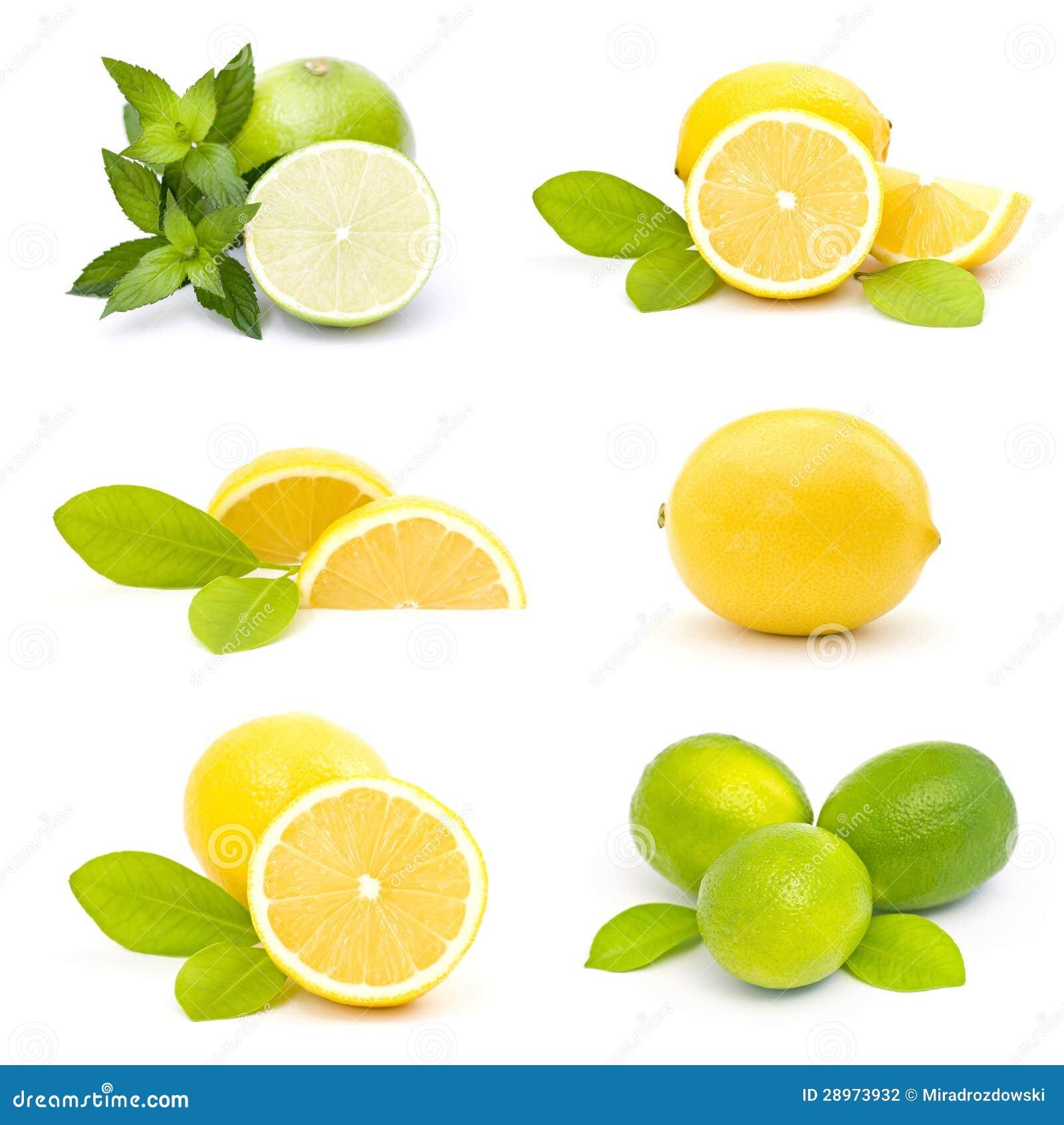 świezi wapno i cytryny - kolaż