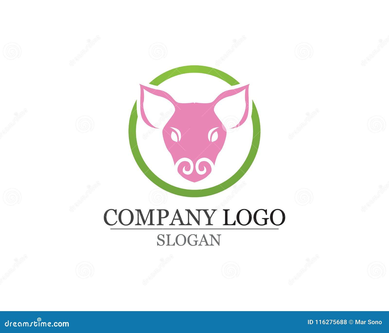 Świnia loga projekta wektoru Kierowniczy szablon Wieprzowiny BBQ grilla restauracja