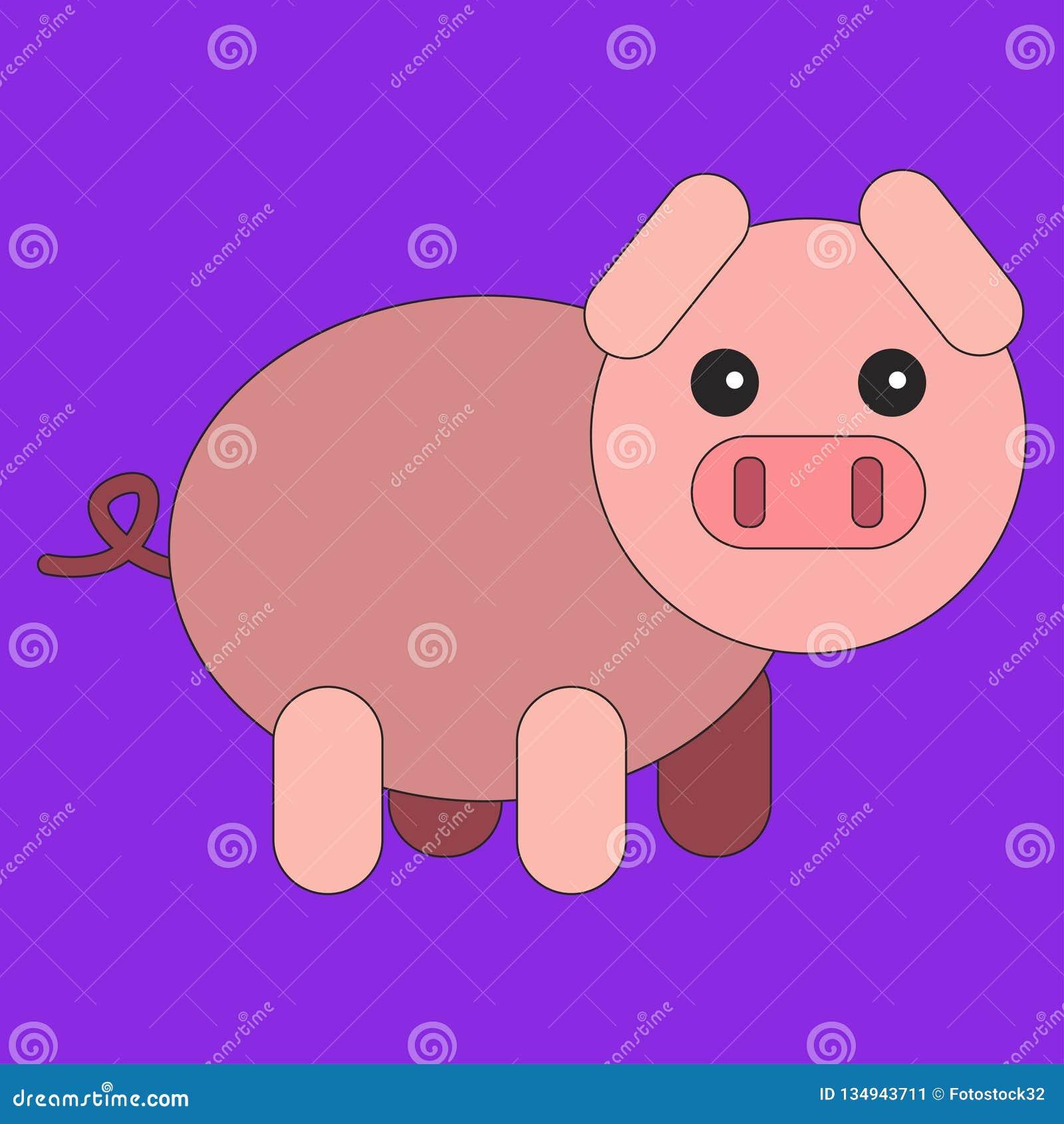 Świnia w kreskówki mieszkania stylu