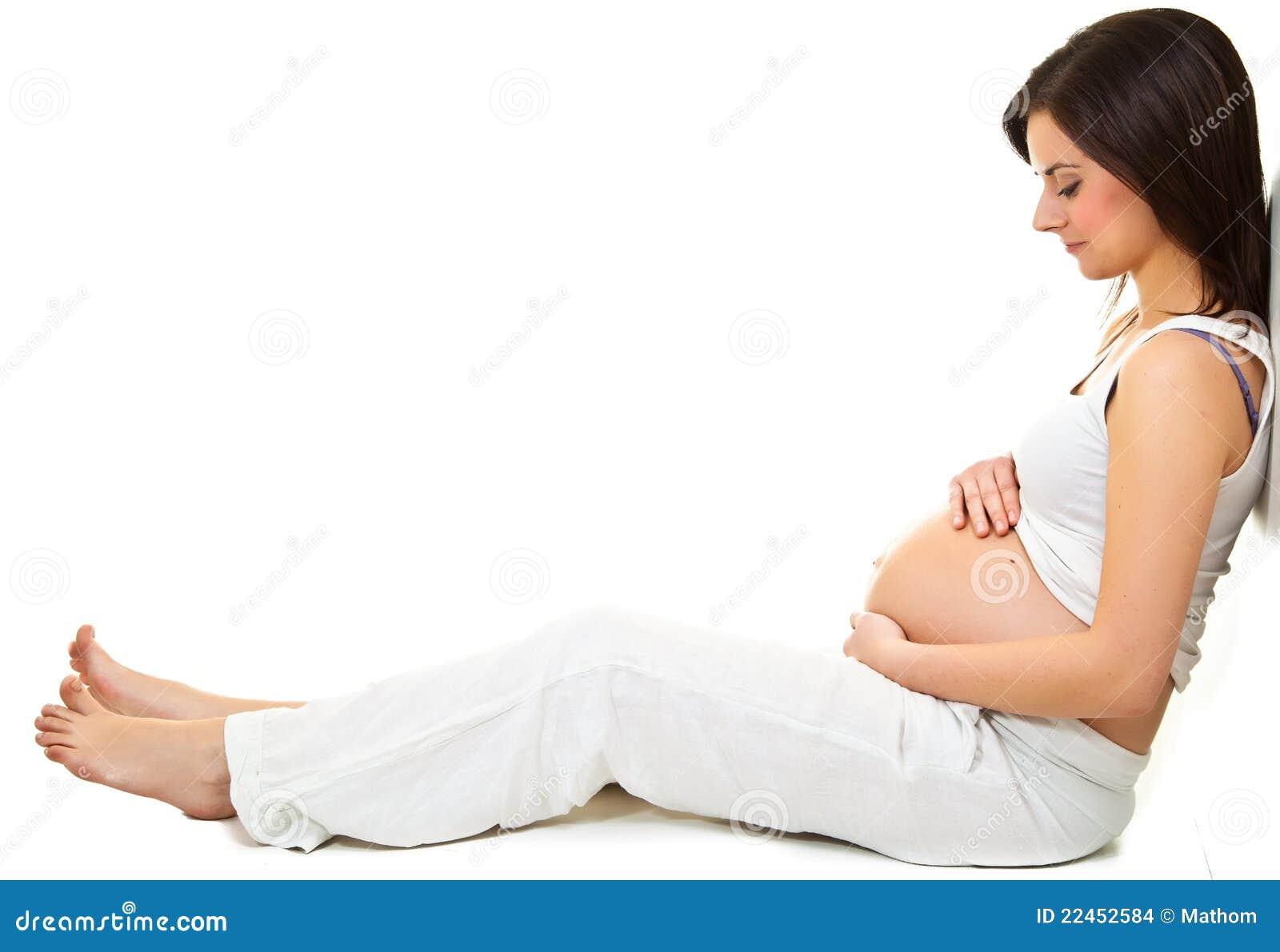 女孩怀孕的白色