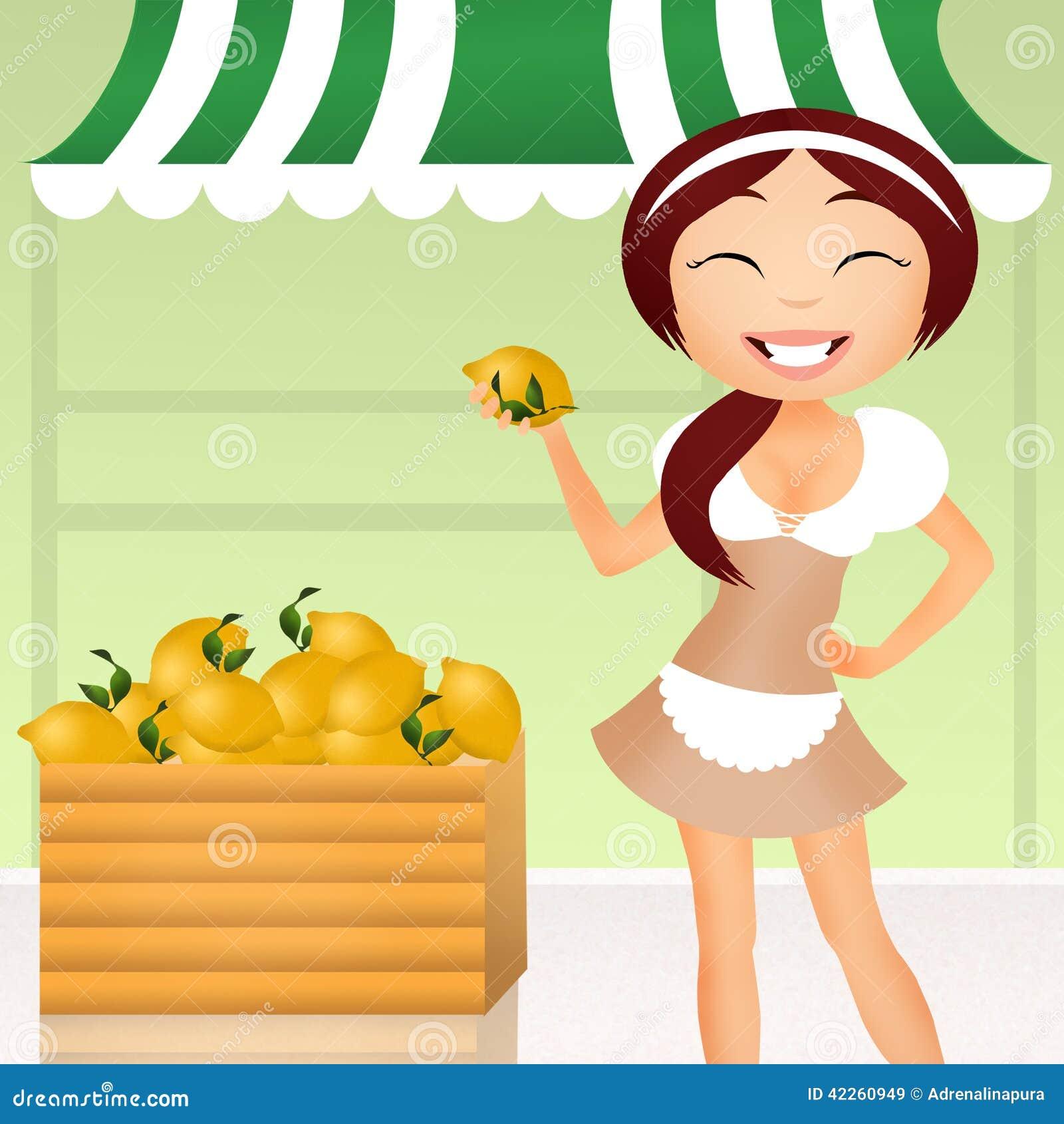 女孩用柠檬 库存例证 图片