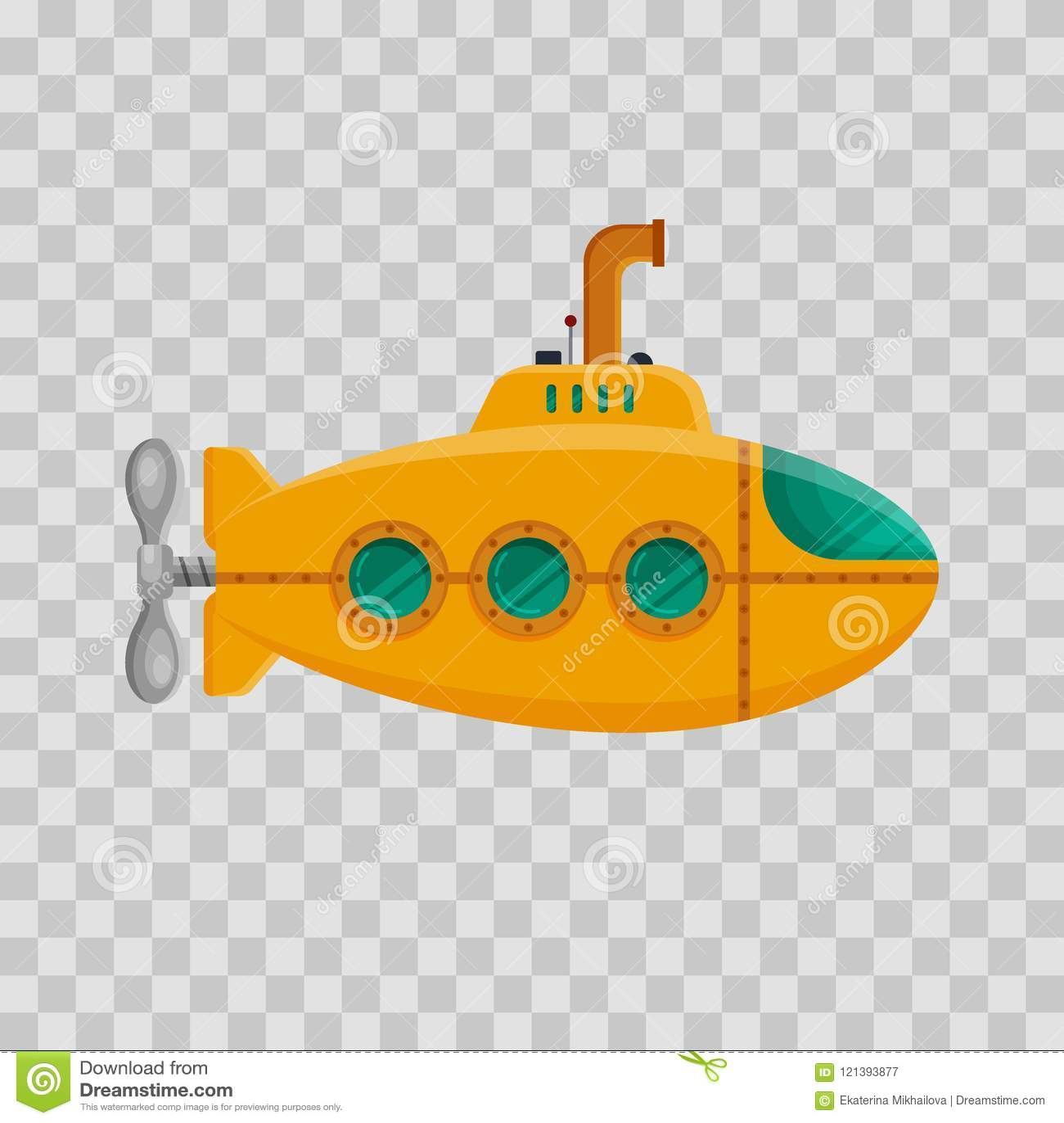 Żółta łódź podwodna z peryskopem na przejrzystym tle Kolorowy podwodny okręt podwodny w mieszkanie stylu Dziecięca zabawka - zapa