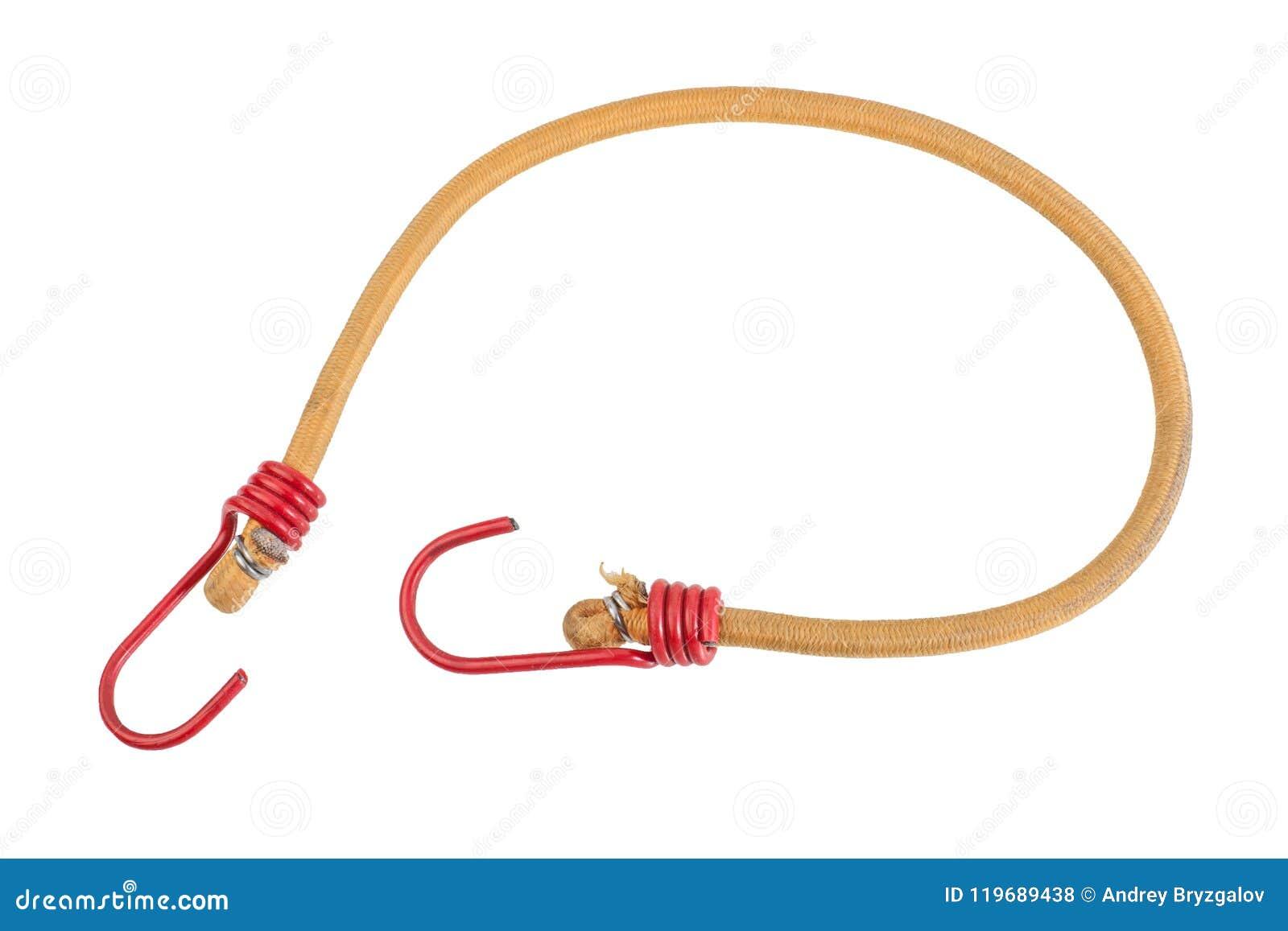 Żółta Elastyczna patka z czerwienią haczy odosobnionego na białym tle Bungee sznur, galonowa nylonowa stretchy arkana