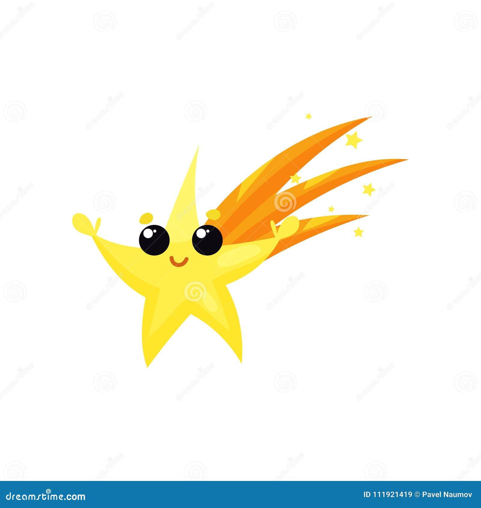 Żółta spada gwiazda z śliczną twarzą i małymi rękami Kreskówka pogodowy charakter Kolorowy płaski wektorowy element dla wiszącej