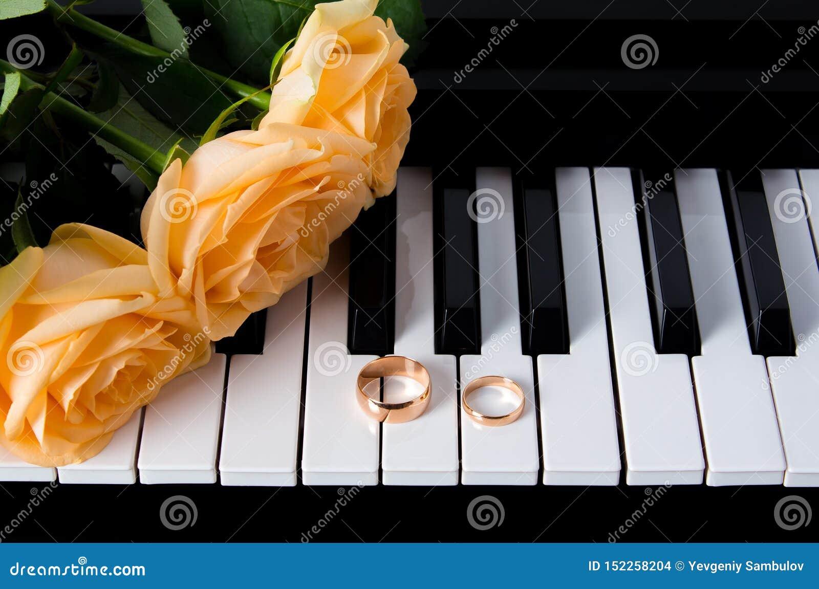 Żółte róże z obrączkami ślubnymi na pianinie narz?dzanie ?lub Prezent twój ukochany dla ślubu lub walentynka dnia