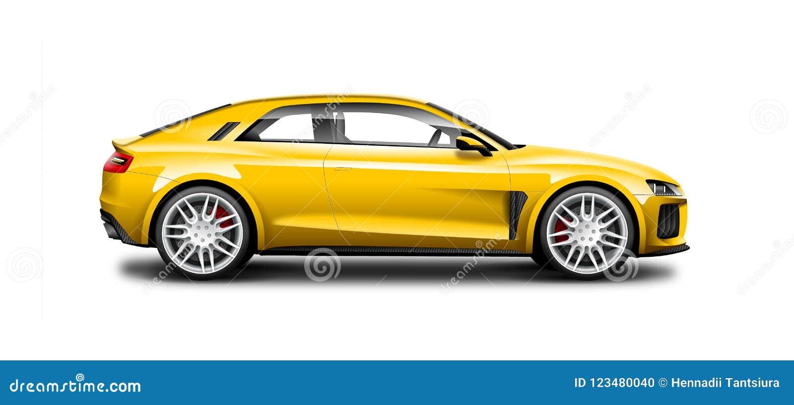 Żółtego Coupe Sporty samochód Na Białym tle Boczny widok Z Odosobnioną ścieżką