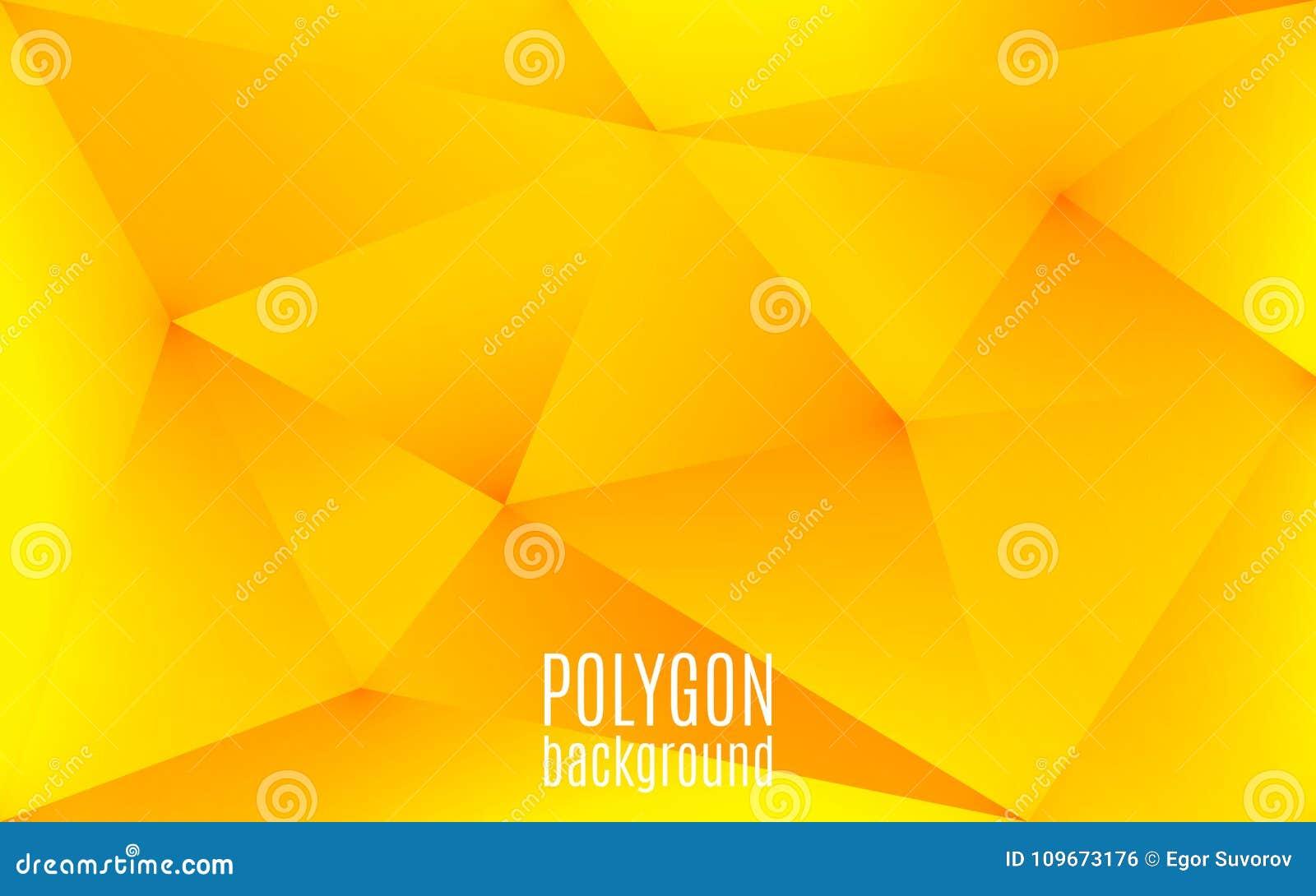 Żółty abstrakcjonistyczny geometryczny tło Wielobok kształtuje tło Trójgraniasta niska poli- mozaika projekta kreatywnie szablon