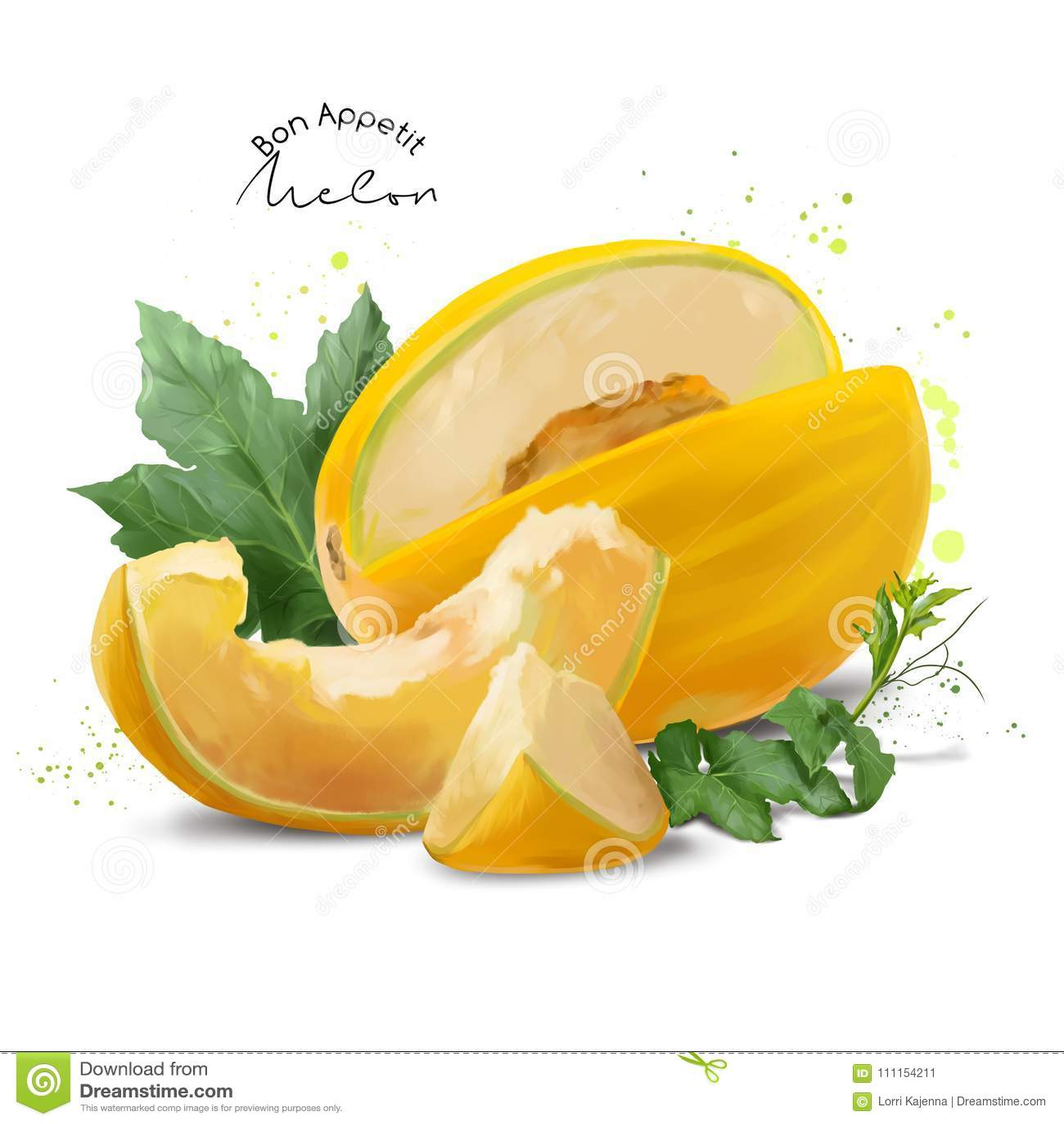 Żółty melon i pluśnięcia akwarela obraz