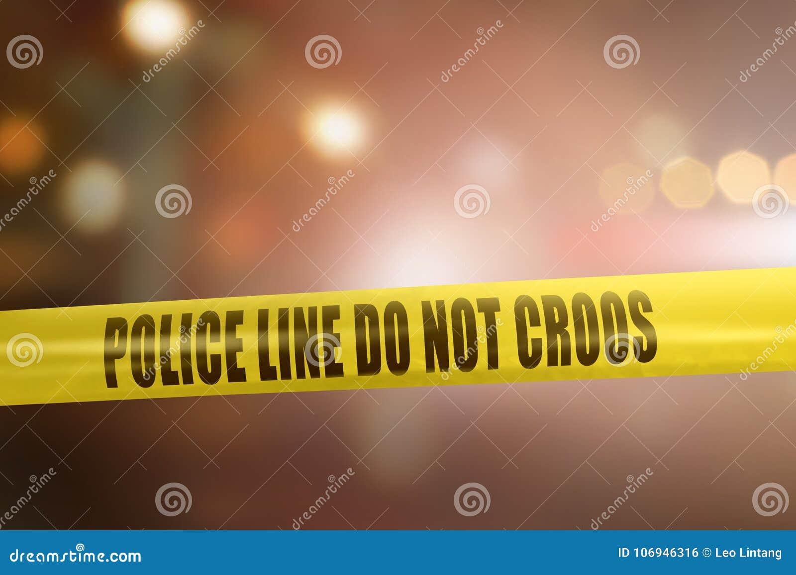 Żółty milicyjnej linii taśmy znak dla ochrony miejsca przestępstwa