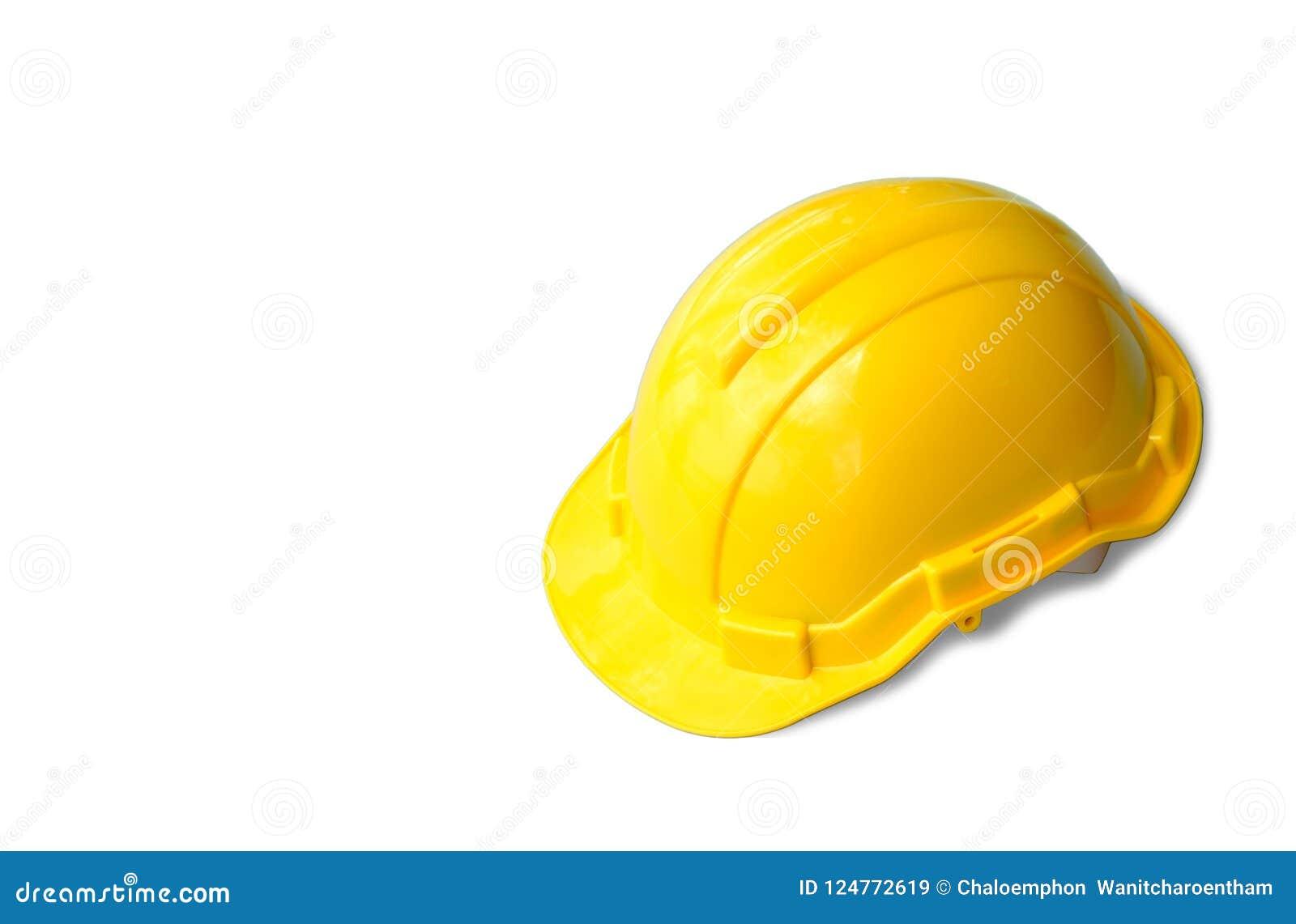 Żółty zbawczego inżyniera hełm na białym odosobnionym tle