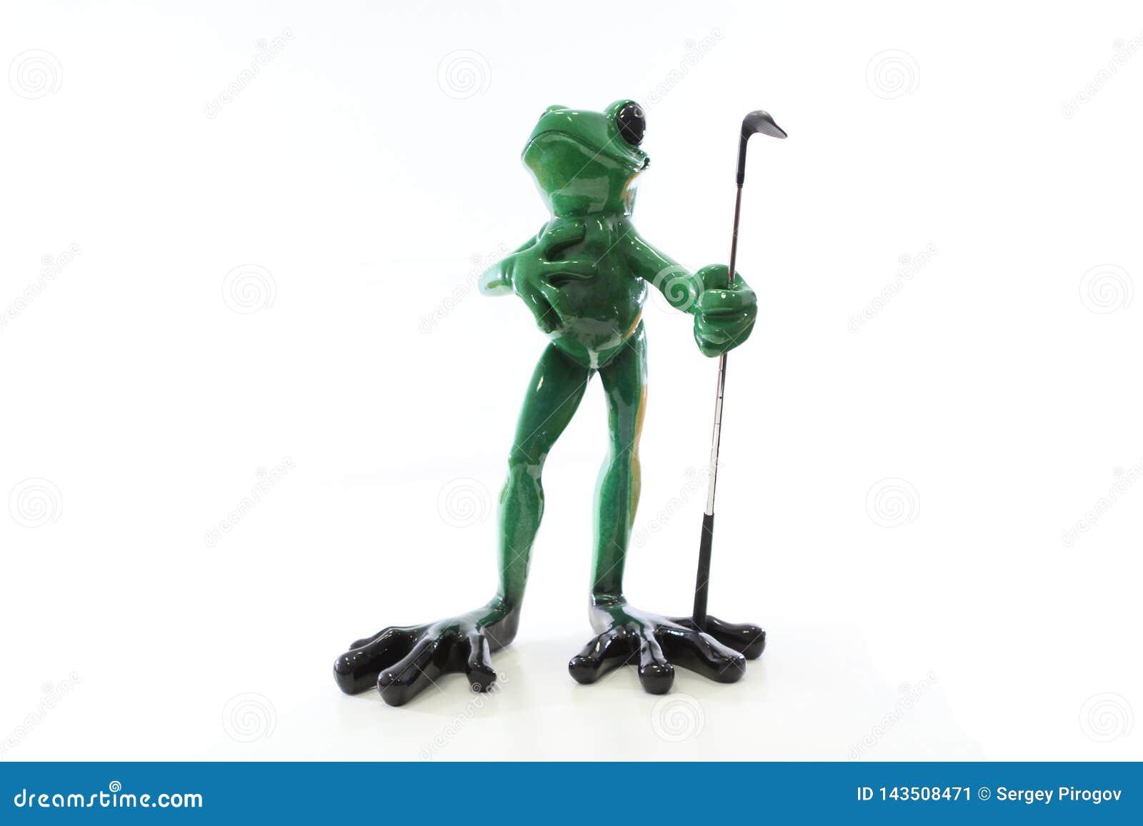 Żaba golfisty figurka