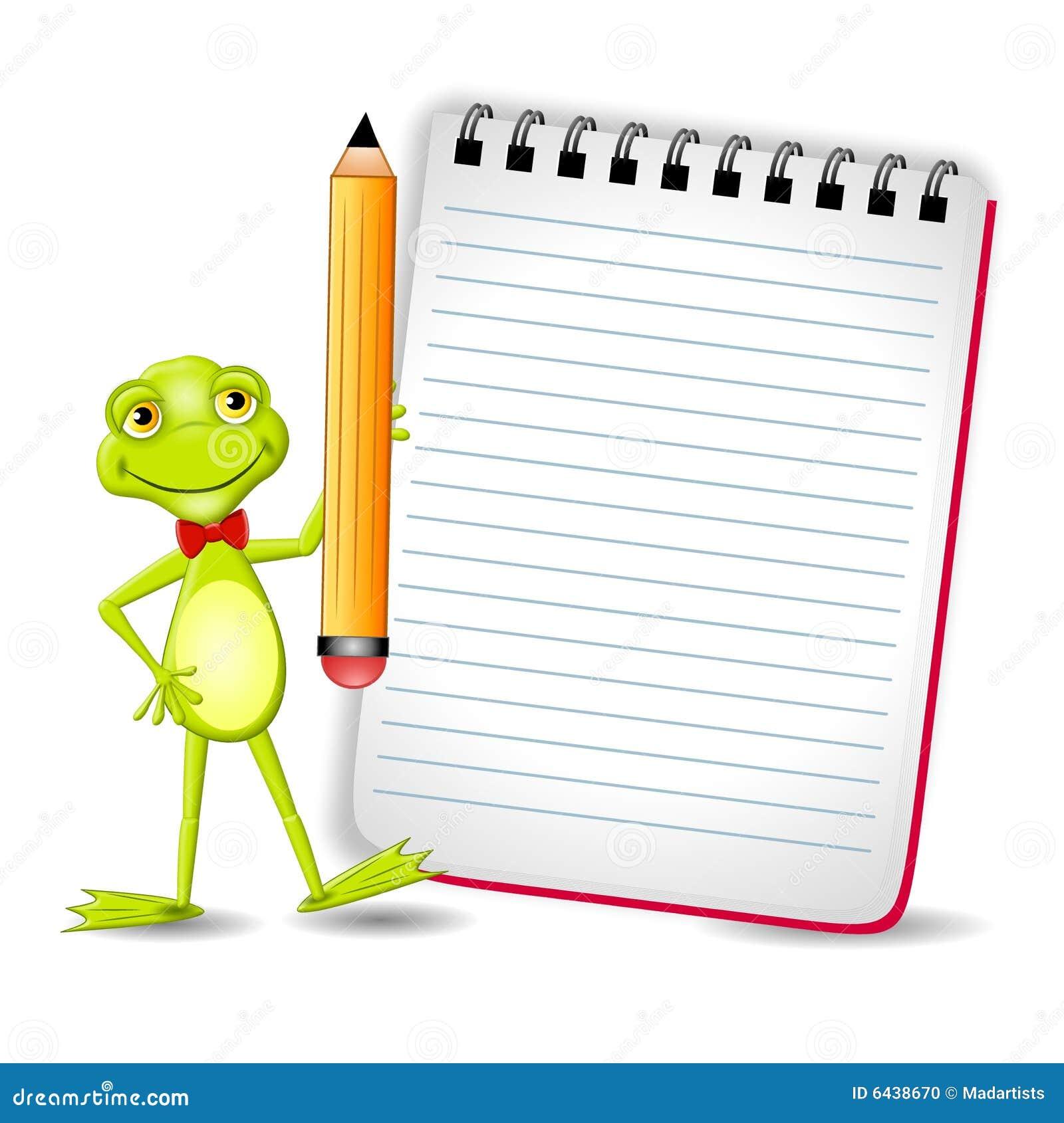 żaby notepad ołówek