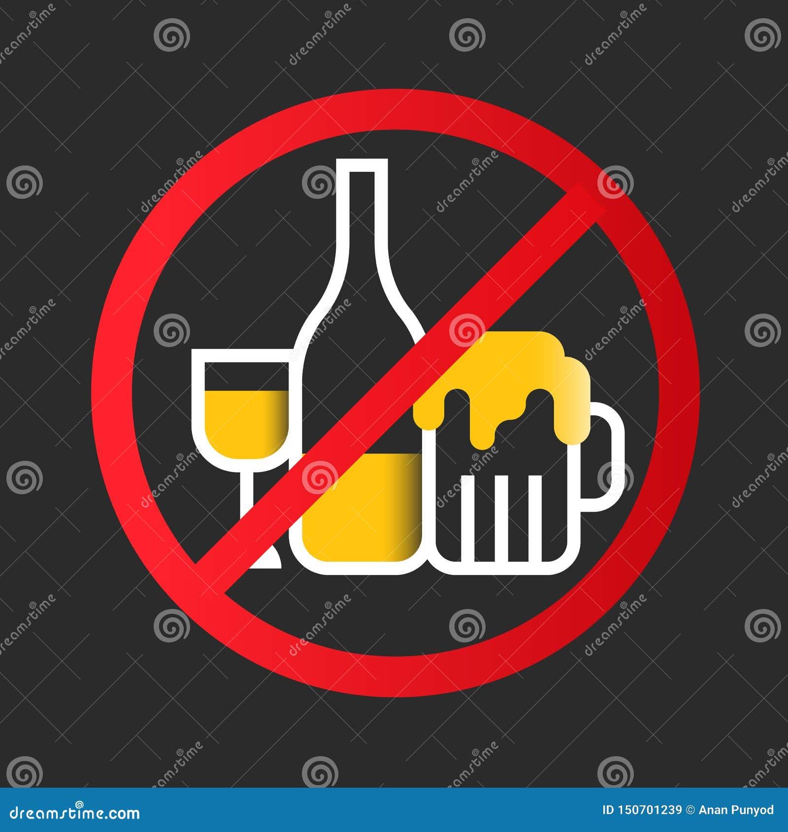 Żadny alkohol ikony znak z białym żółtego wina szkłem, trunek butelka, Piwny szkło w czerwonego okrąg przerwy znaka wektorowym pr