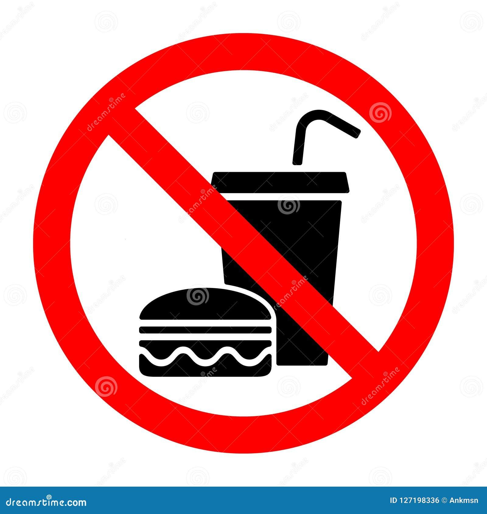 Żadny karmowa przerwa je prohibicja znaka lub pije