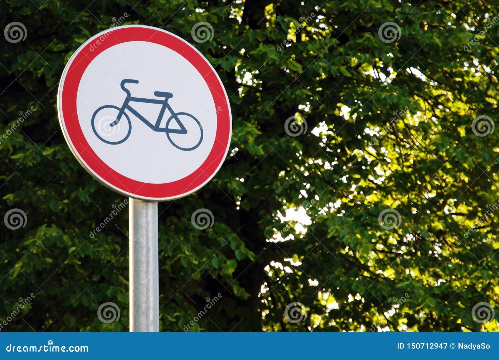 Żadny kolarstwo podpisuje wewnątrz parka na zielonym drzewnym tle