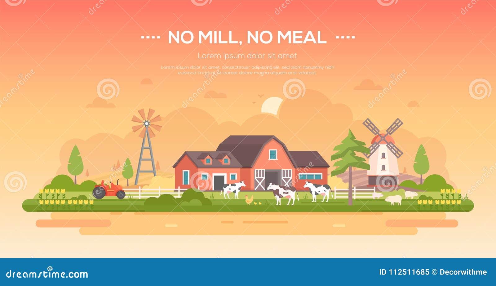 Żadny młyn, żadny posiłek - nowożytna płaska projekta stylu wektoru ilustracja