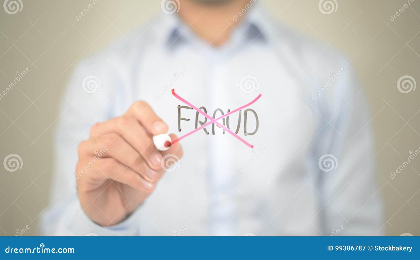 Żadny oszustwo, mężczyzna writing na przejrzystym ekranie