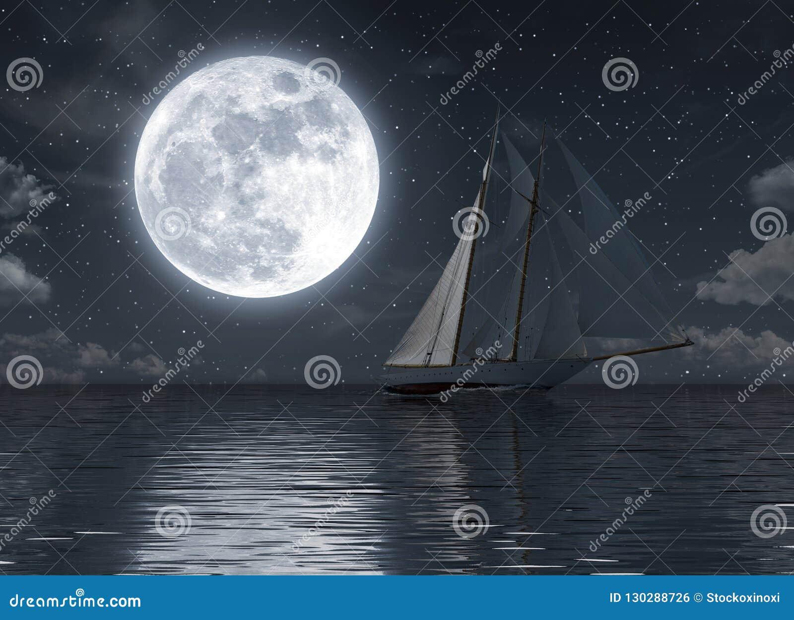 Żaglówka na morzu przy nocą z księżyc w pełni