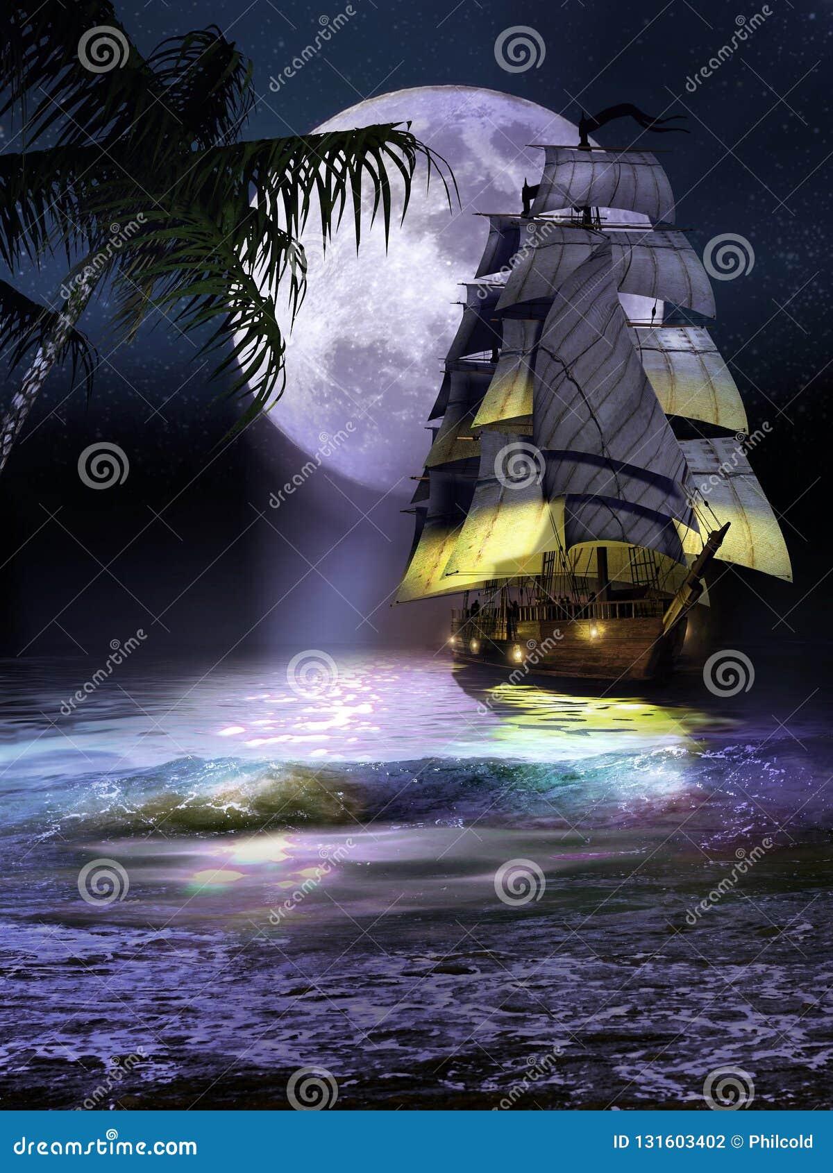 Żaglówka na wybrzeżu przy nocą
