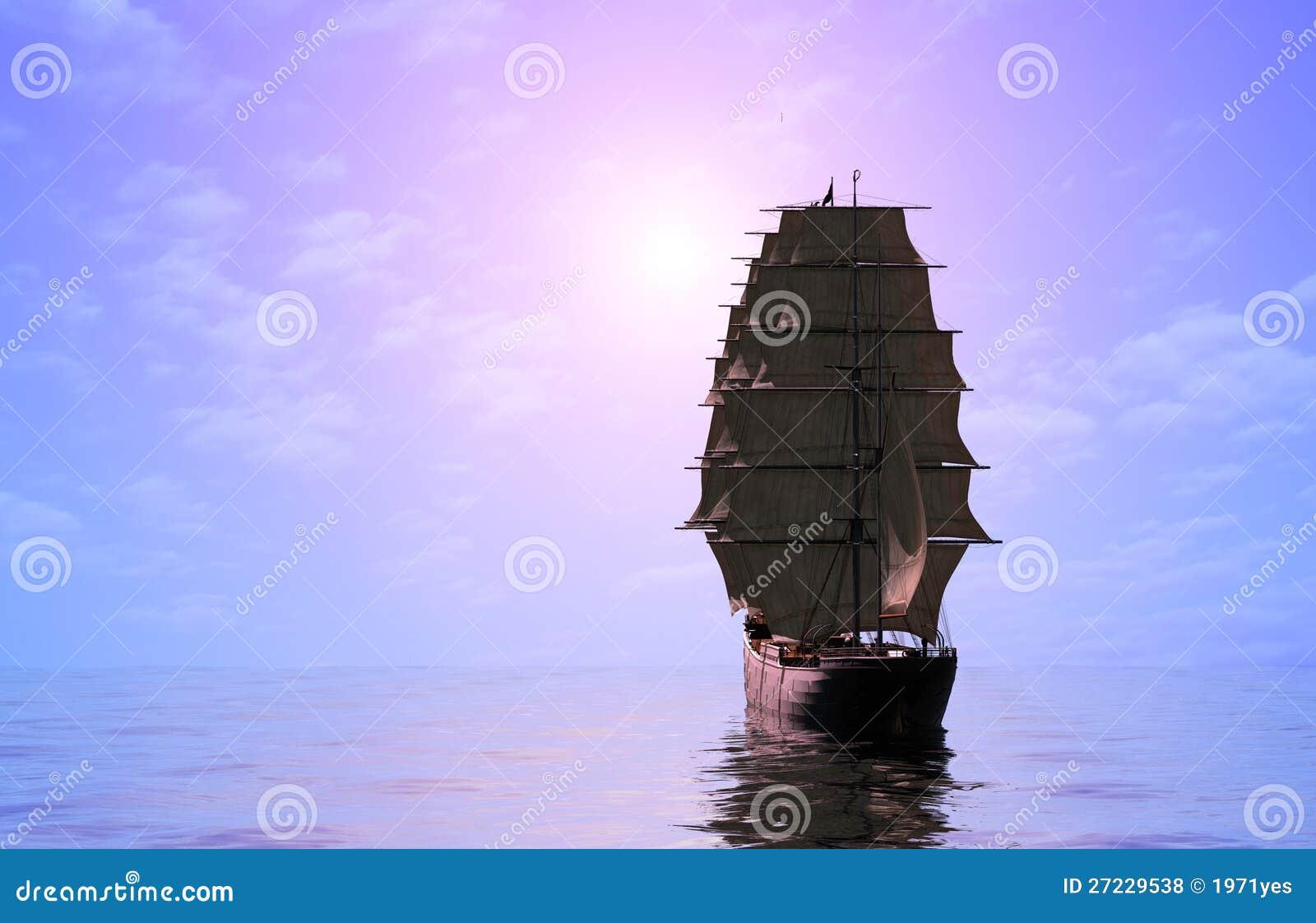 Żaglówka w morzu.