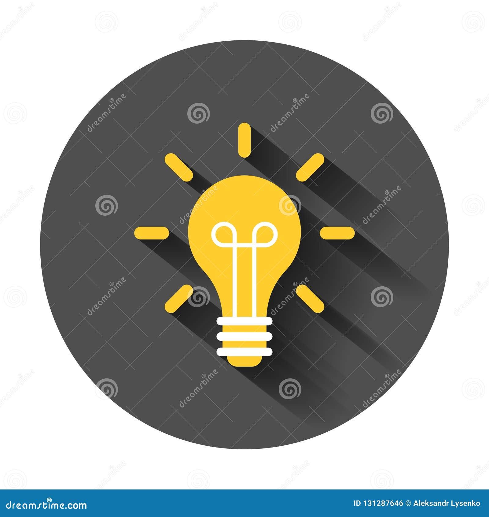 Żarówki ikona w mieszkanie stylu Lightbulb wektorowy ilustracyjny dowcip