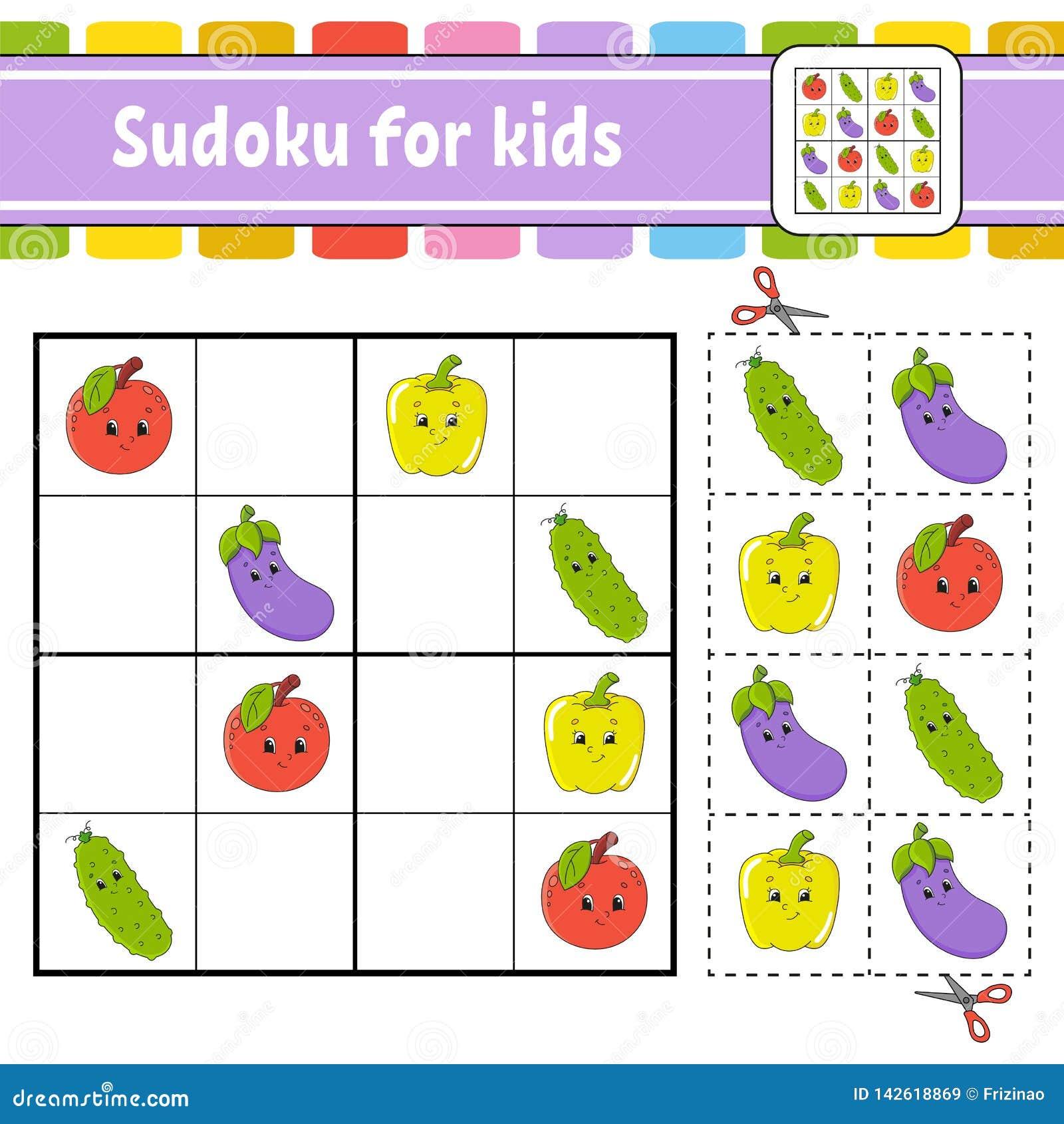 żartuje sudoku Edukacji rozwija worksheet Aktywności strona z obrazkami Łamigłówki gra dla dzieci Logicznego główkowania szkoleni