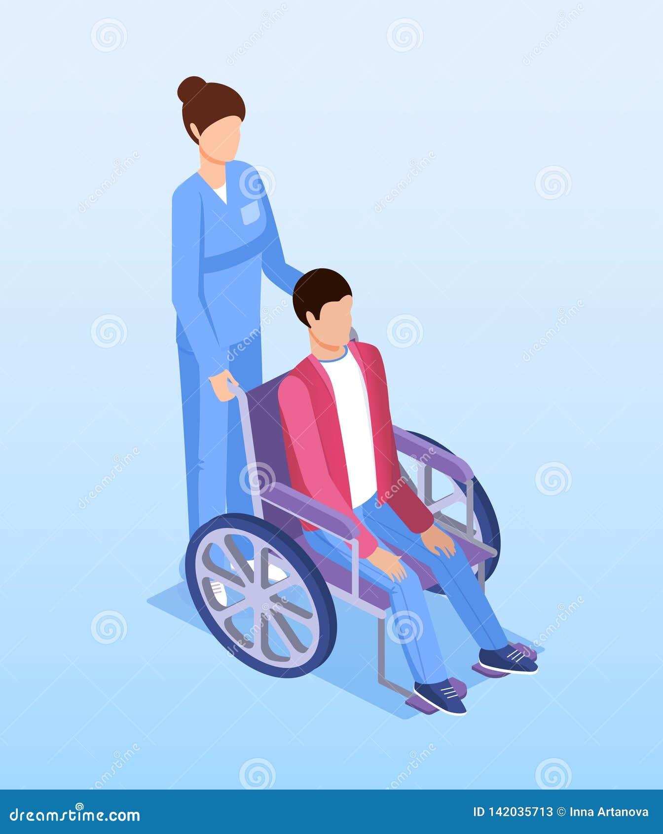 Żeńska pielęgniarka z niepełnosprawną osobą w wózku inwalidzkim
