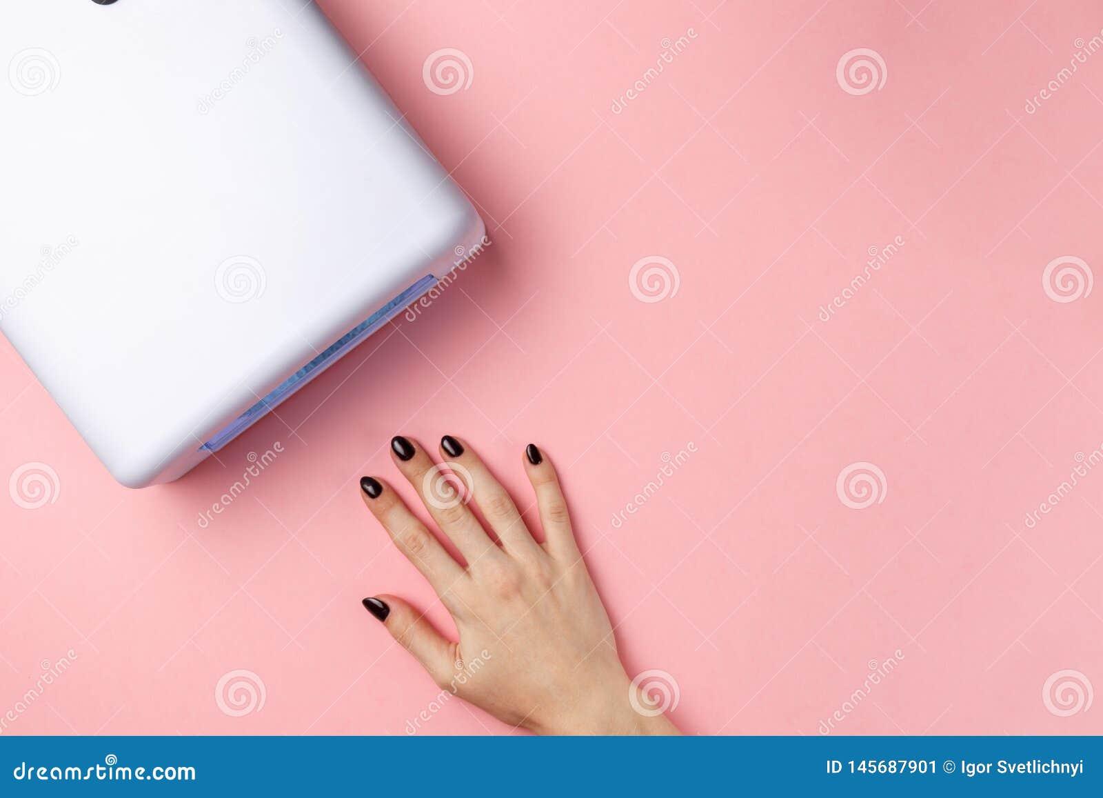 Żeńska ręka z robiącymi manikiur gwoździami i ULTRAFIOLETOWĄ lampą