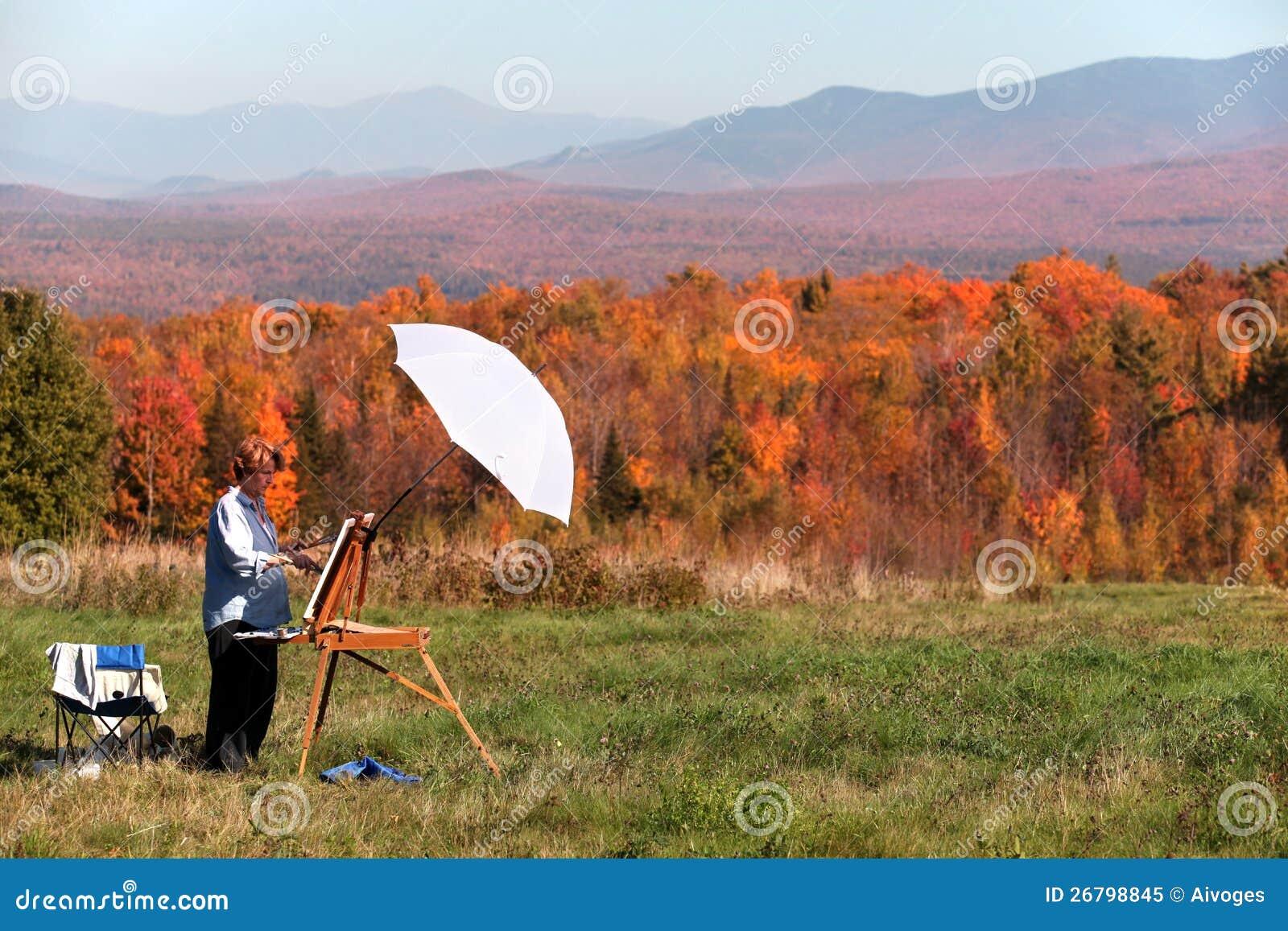 Żeński artysty obrazu spadek ulistnienie, New Hampshire