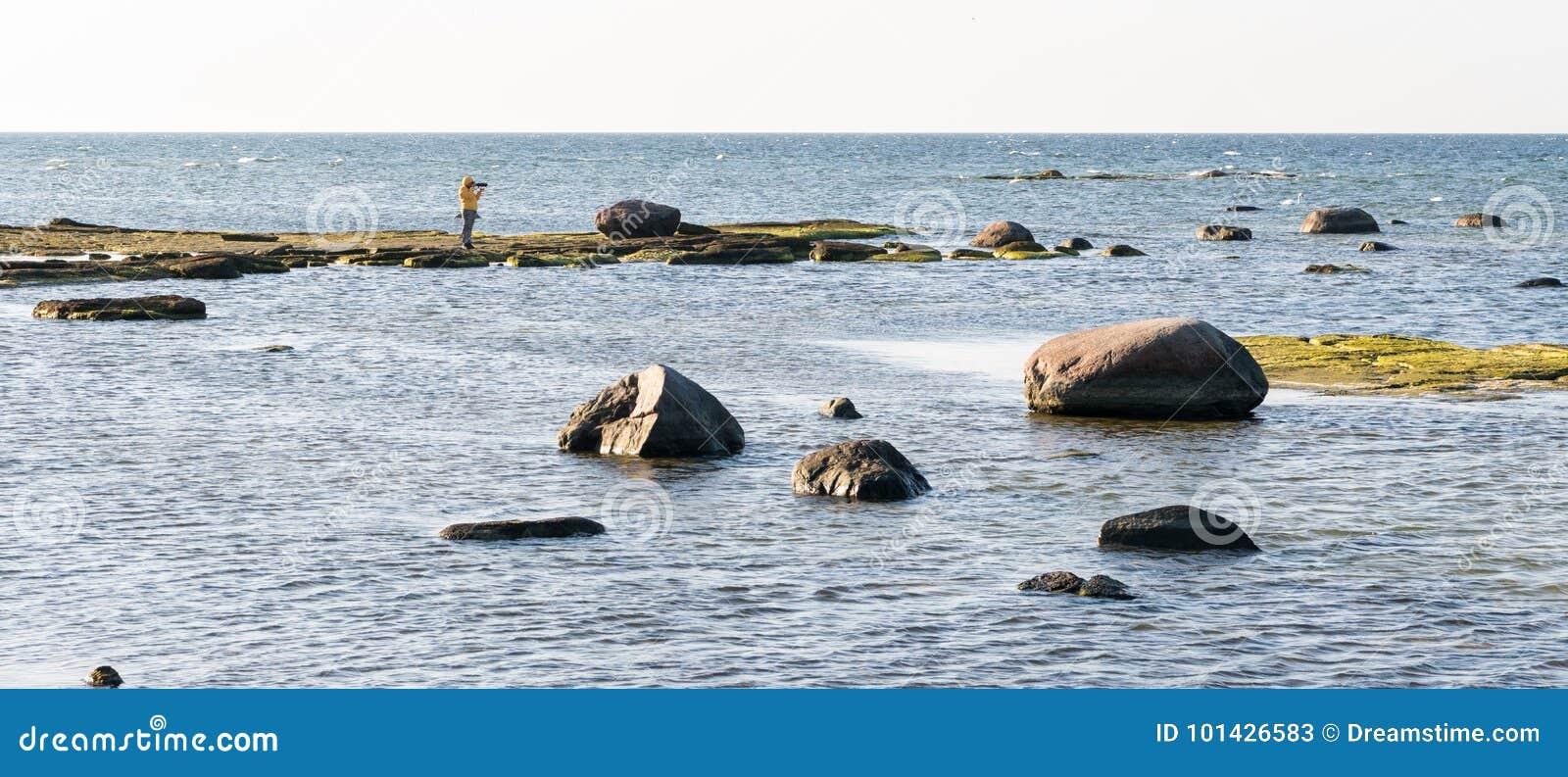 Żeński fotograf bierze fotografię na wyspie z dwa łabędź Panoramiczny wizerunek morze z skałami