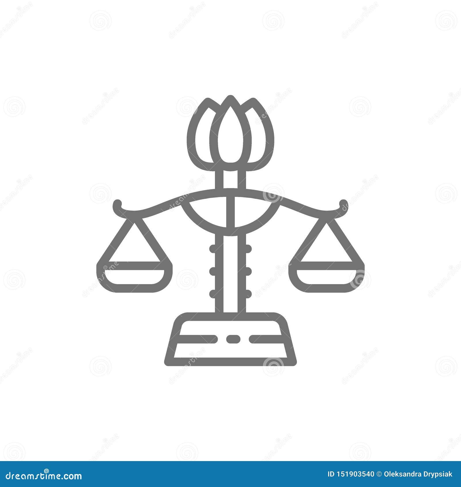 Żeński libra, równouprawnienie płci, damy sprawiedliwości linii ikona