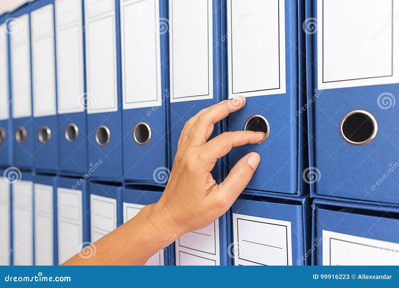 Żeńskiego księgowego zarchiwizowana biznesowa dokumentacja