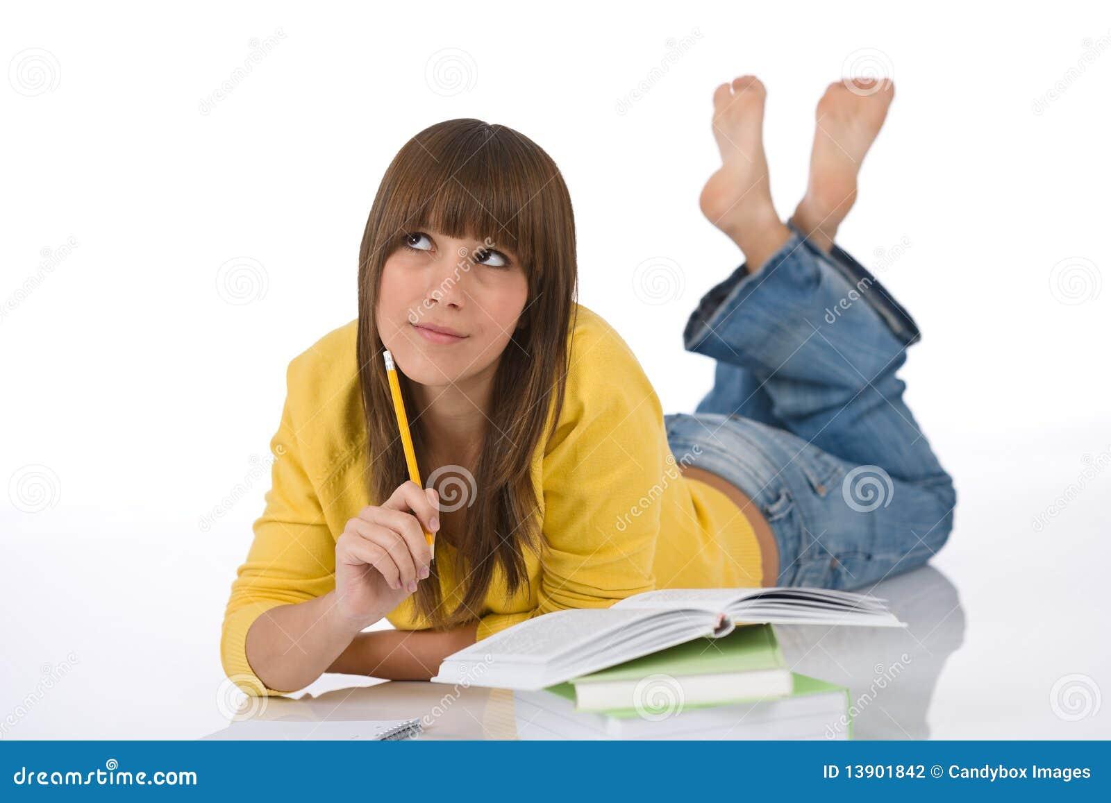 żeńskiej pracy domowej studencka nastolatka myśl pisze