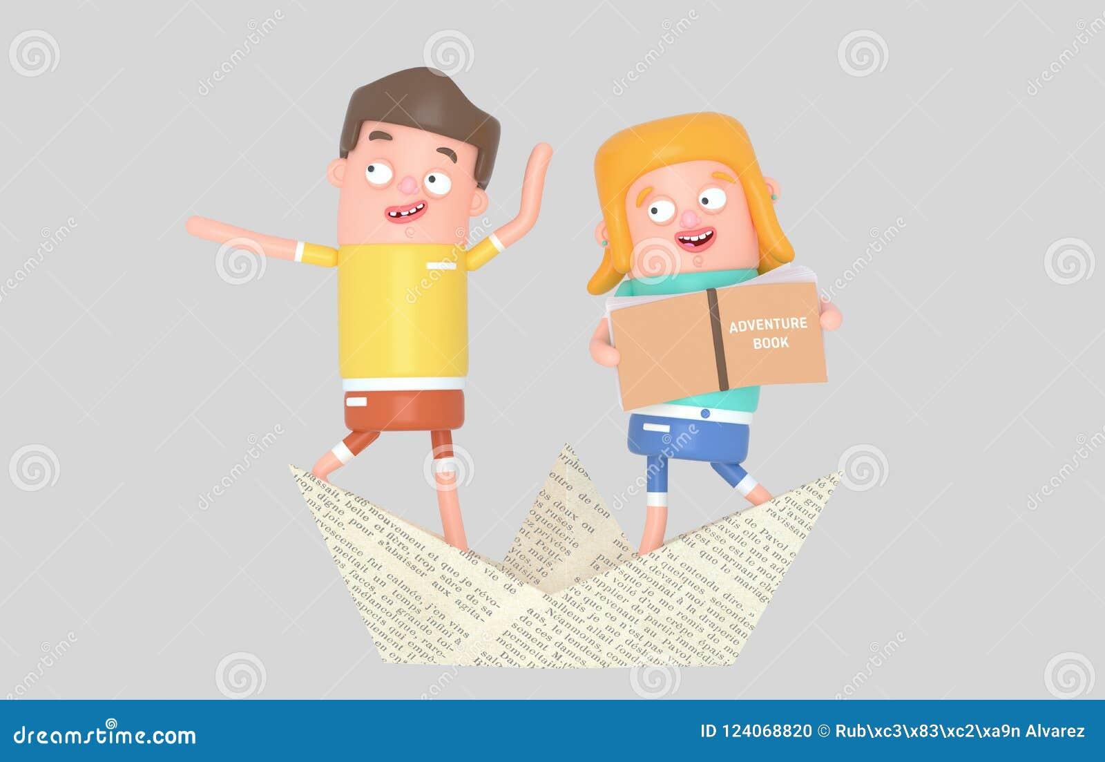 Żeglarzów dzieciaków inside papieru łódź ilustracja 3 d