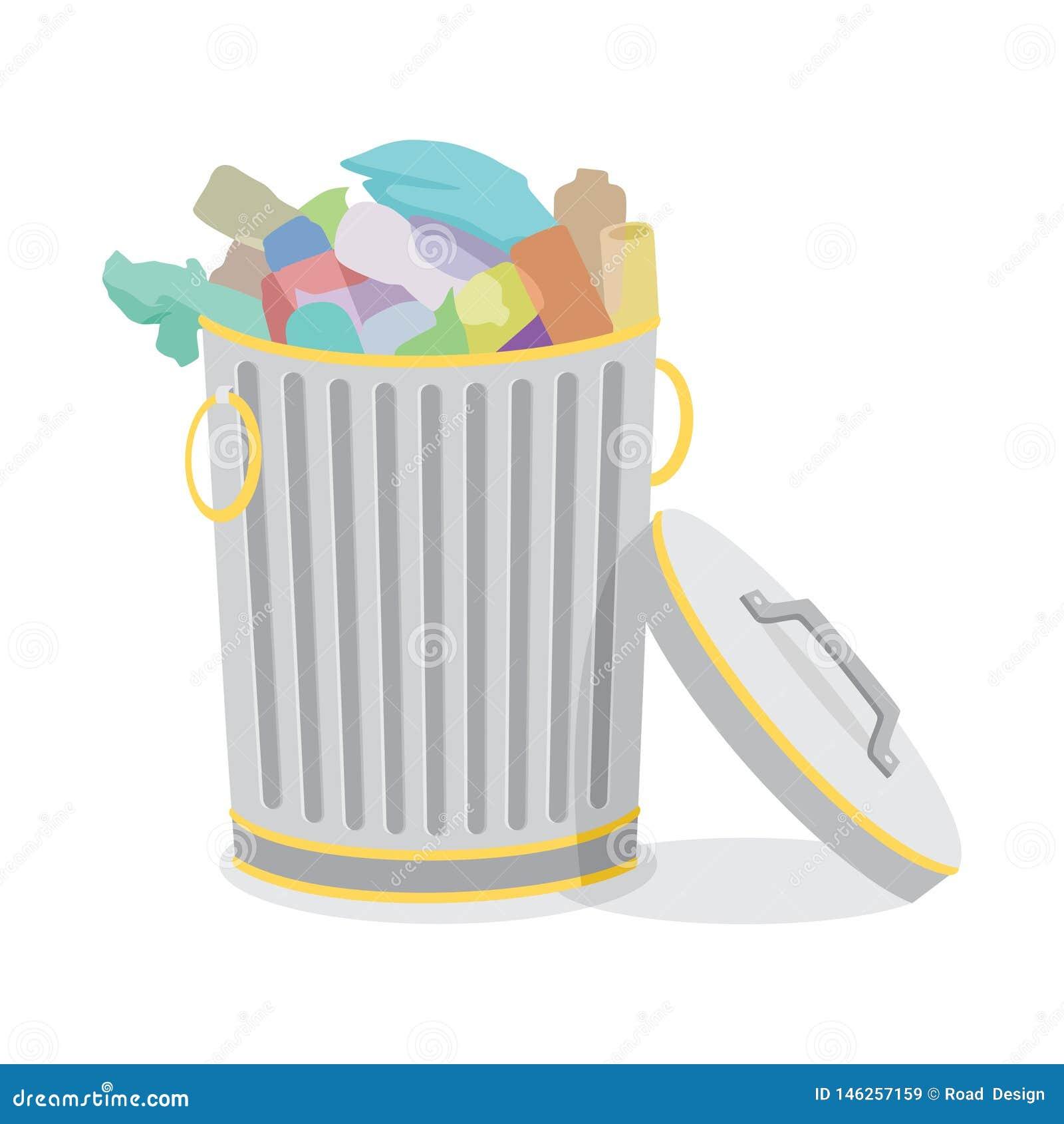 Żelazni kubły na śmieci Segregujący z Śmieciarską Wektorową ilustracją