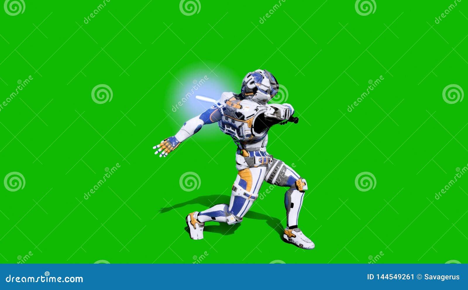 Żołnierz przyszłościowy bój z lightsaber przed zielonym ekranem świadczenia 3 d