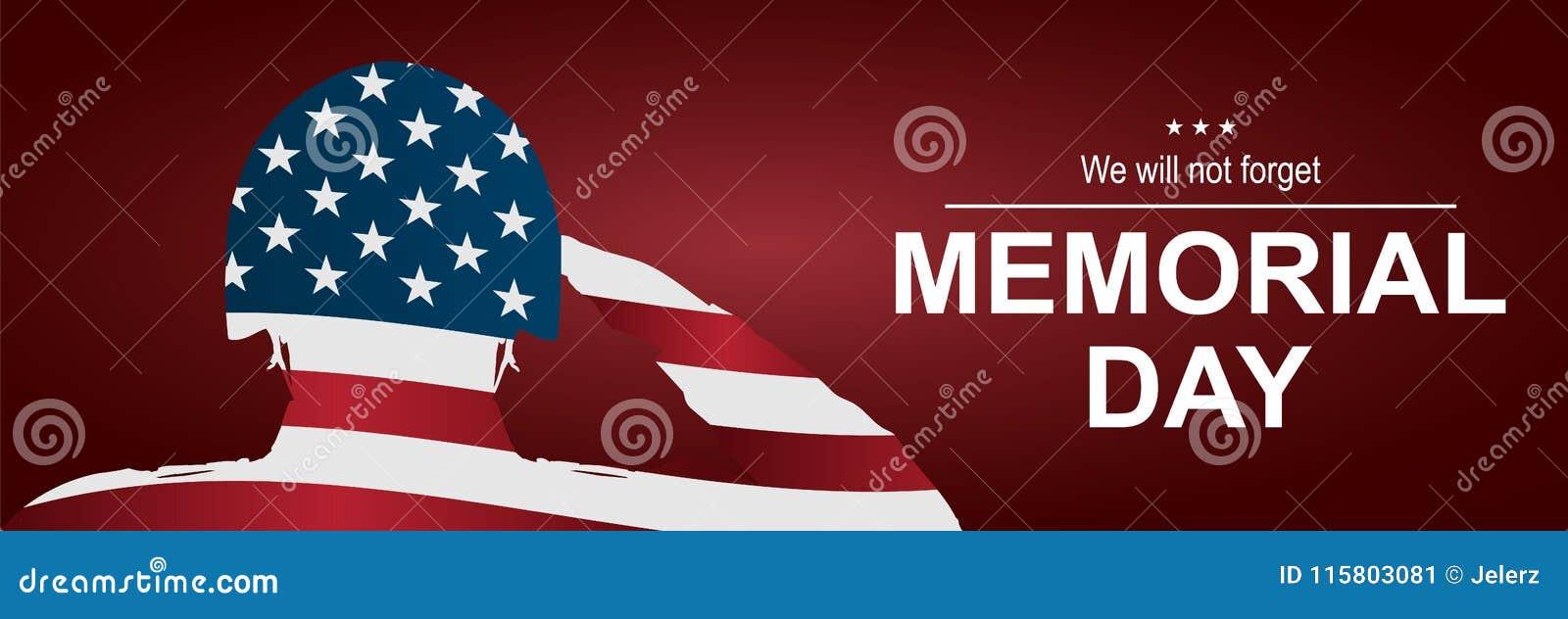Żołnierz salutuje usa flaga dla dnia pamięci szczęśliwy dzień pomnik