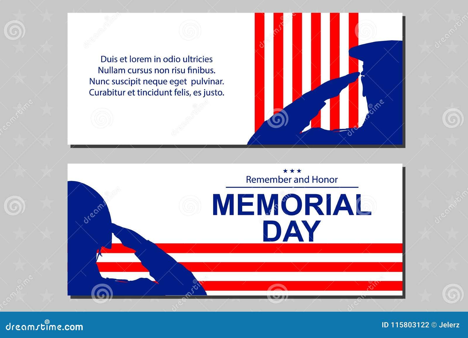 Żołnierz sylwetka salutuje usa flaga dla dnia pamięci Plakat lub sztandary ilustracyjni