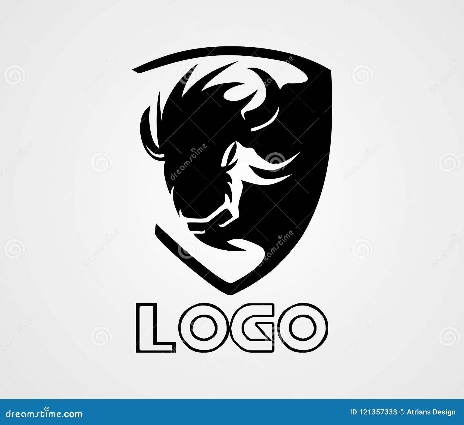 Żubra loga wektor, Zwierzęcy logo