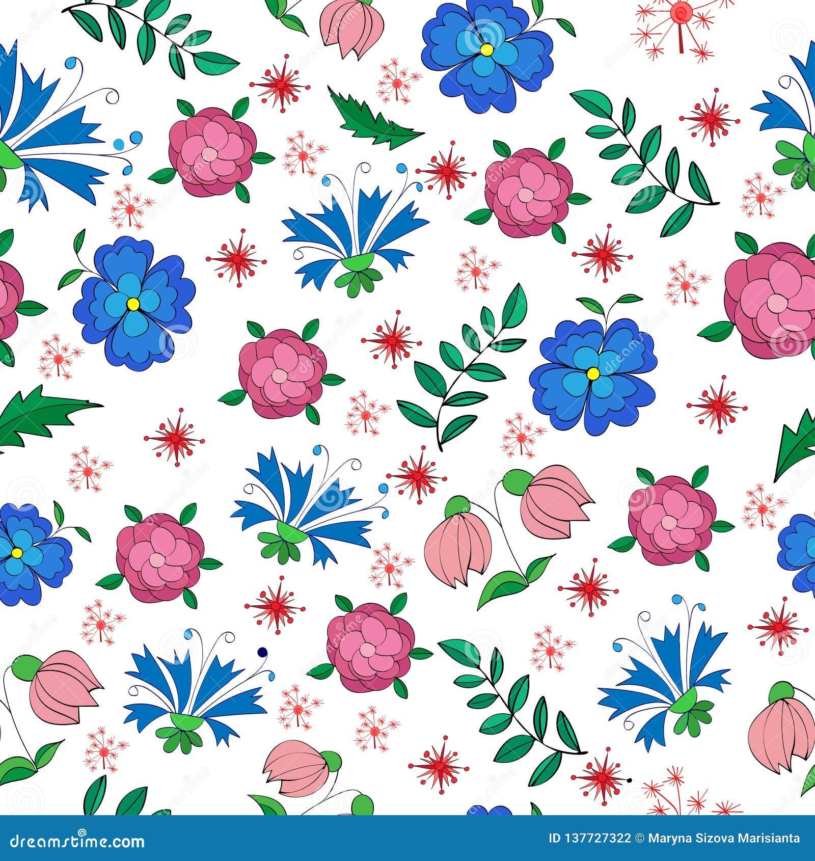 Żyłkowany bezszwowy wzór mali kwiaty i liście
